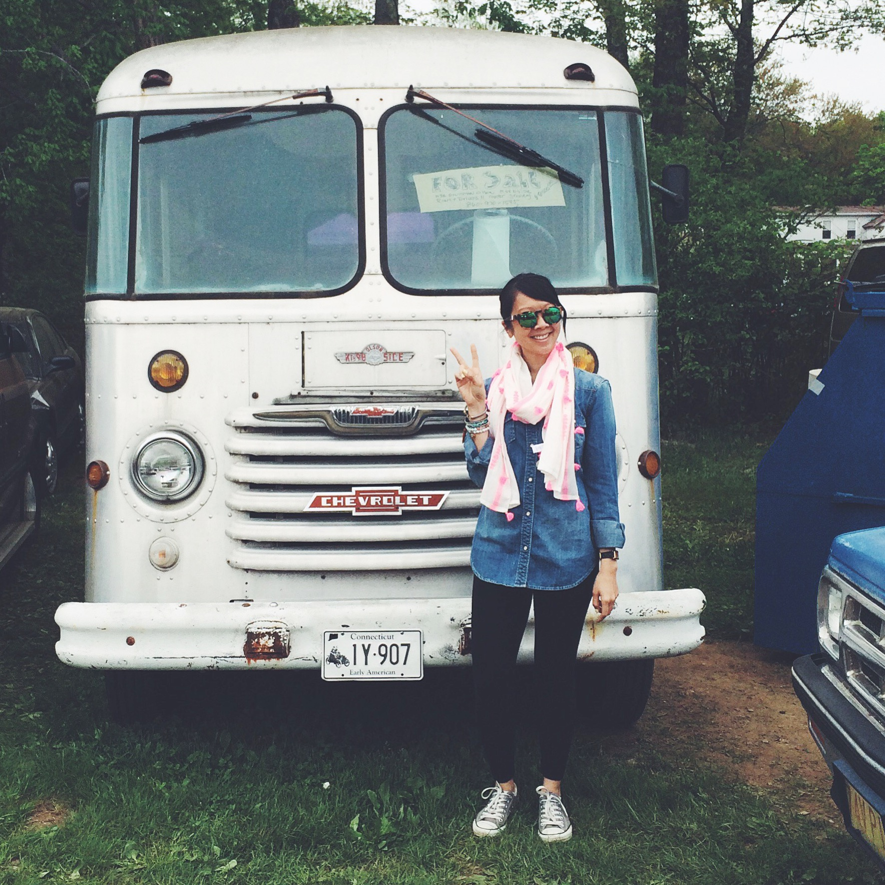 Packed all of our loot into this bus I purchased and headed home. Peace out Brimfield!! (Totally kidding about the bus.)