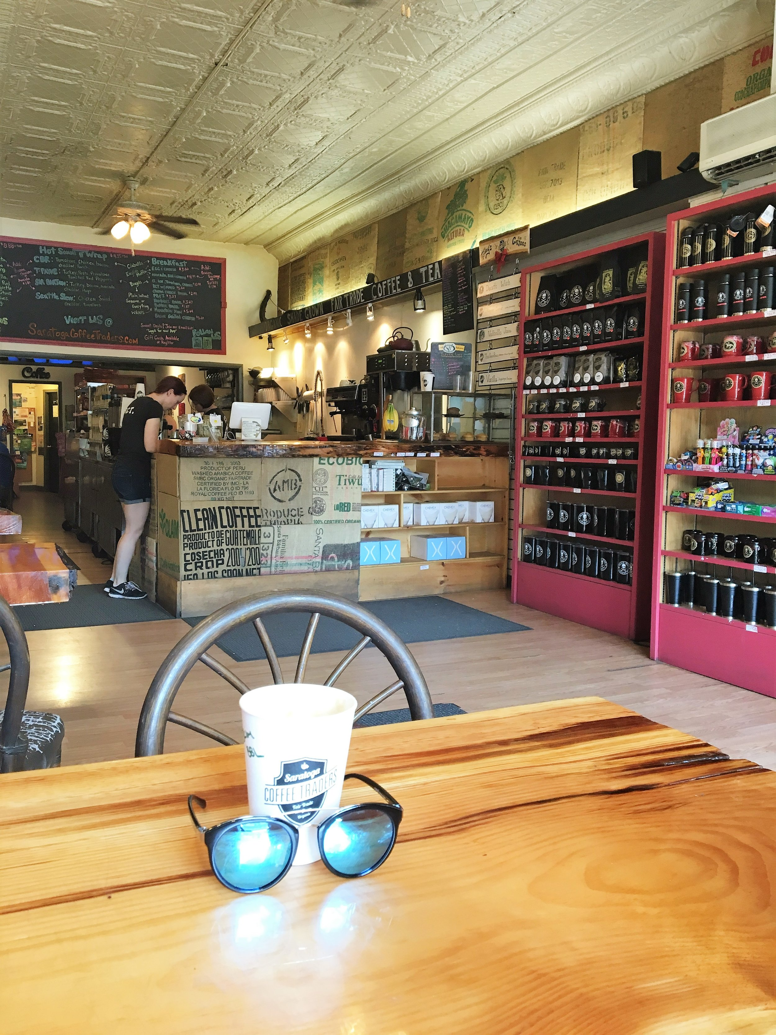 Saturday AM, I headed into town with two of my buds in search of coffee. We found  Saratoga Coffee Traders  and it was such a treat. They had some amazing specialty lattes. We loved it so much we went back the next morning for more!
