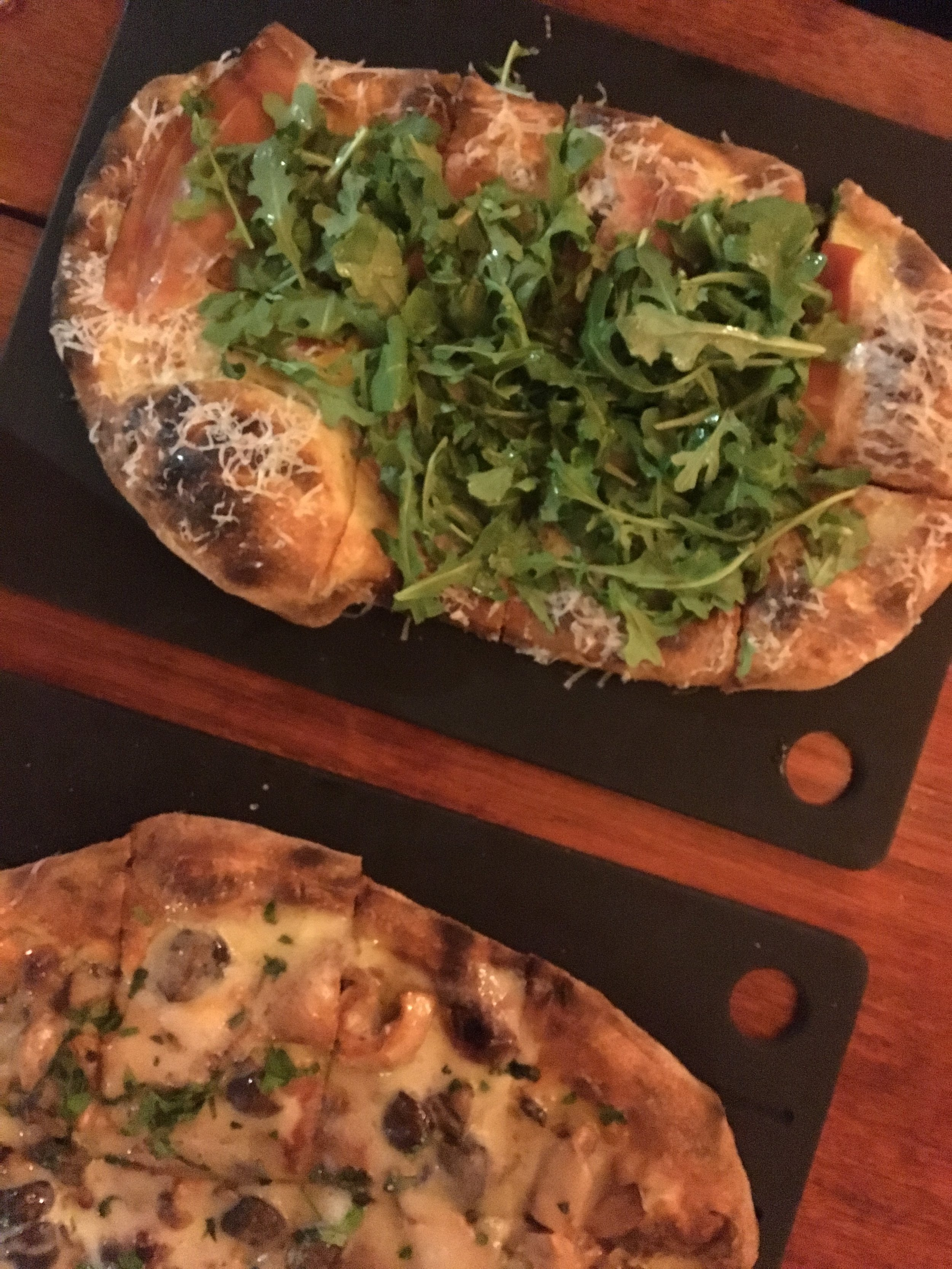 One night, I was seriously craving pizza. So Dan did a little research and found a place called  Serious Pie . It really hit the spot. We shared the roasted seasonal mushrooms with truffle cheese (my choice) and the soft egg, smoked prosciutto, local greens and pecorino sardo.
