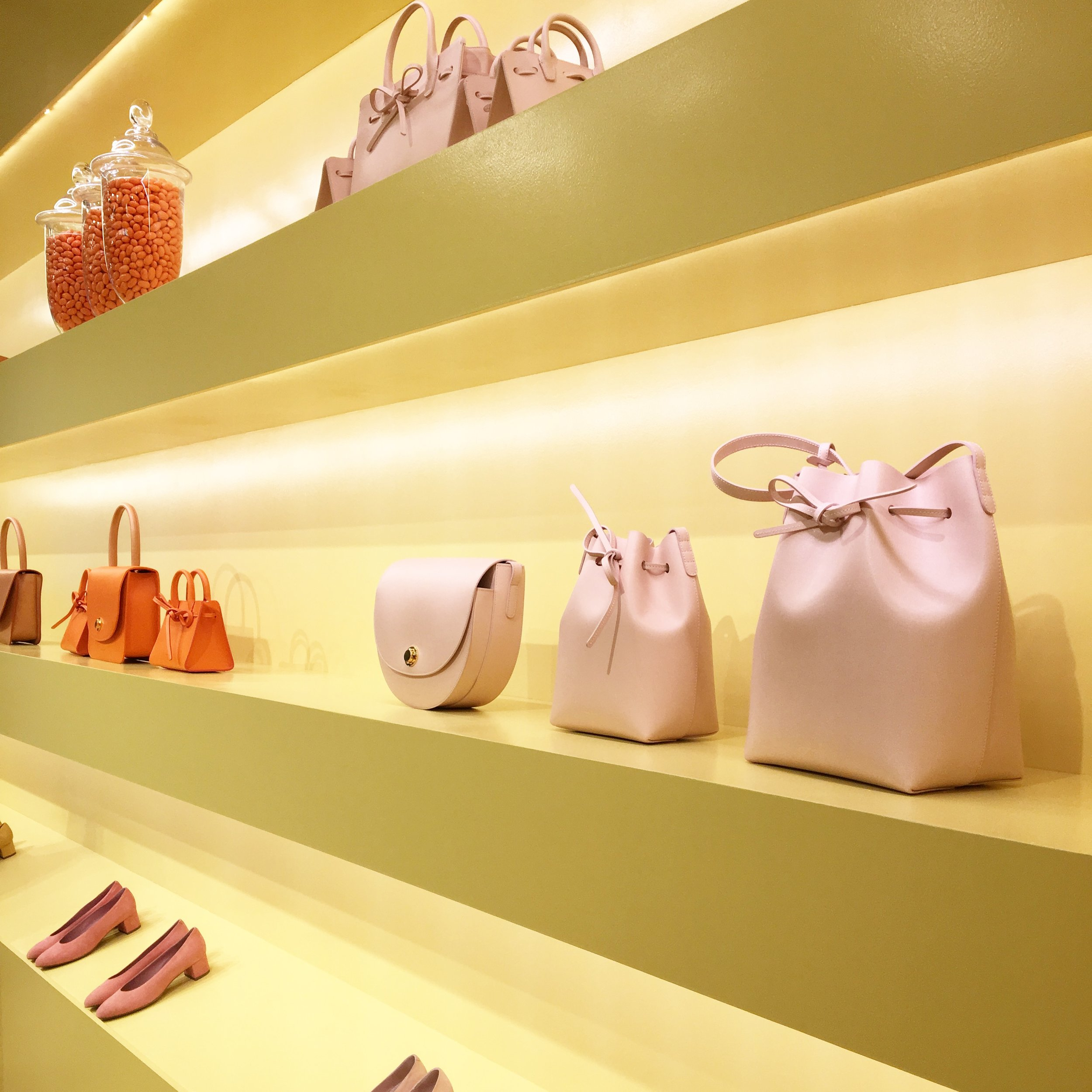 Just a few doors down is the Mansur Gavriel Pop-Up. Such a colorful space filled with all the bags and shoes a girl dreams of!
