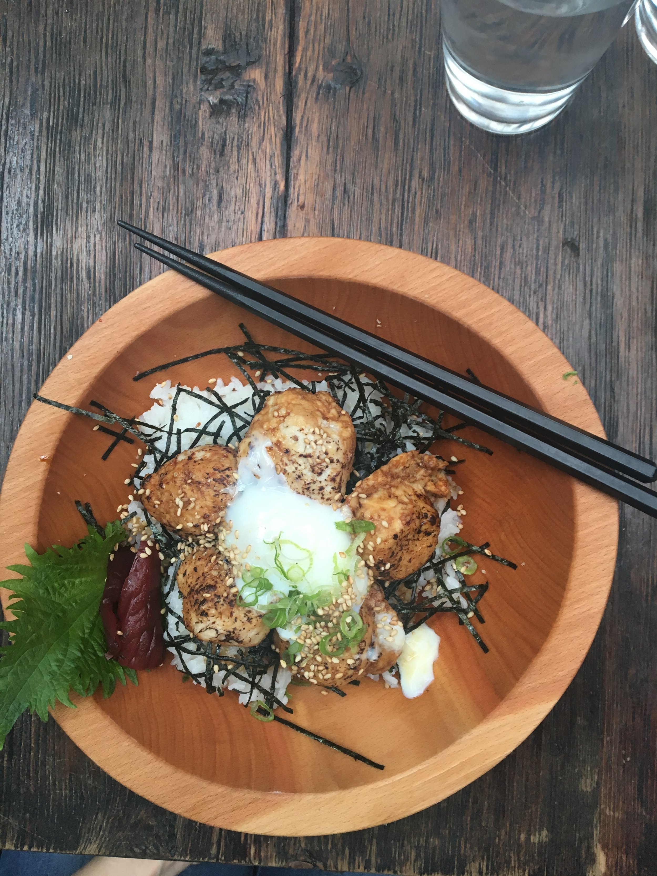I ordered the Tsukune Don: japanese chicken meatballs over nori and topped with a soft egg.