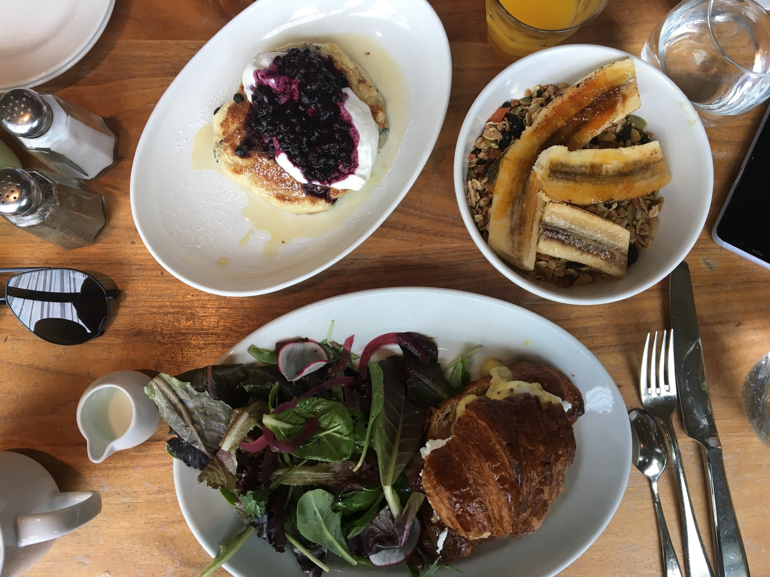 For a cool brunch spot with amazing options, make sure to stop by  Mildred's Temple Kitchen. Mildred's is known for their pancakes, which are super fluffy and almost cake-like. We also got the crunchy granola and veda's choice.