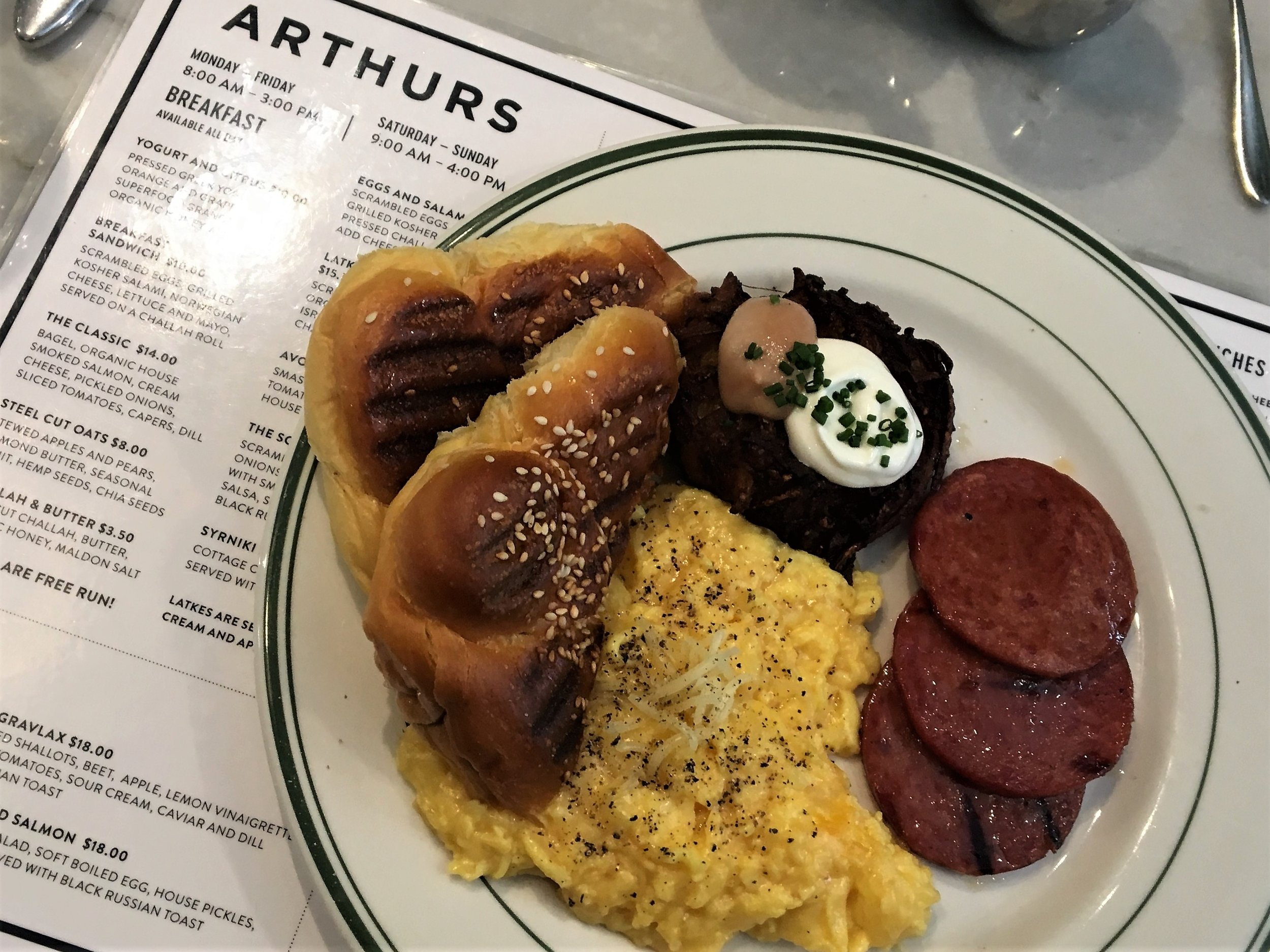 I got the eggs and salami. The challah was incredible - hot and buttery. The potato latke was just as amazing; it was served with applesauce and sour cream. I am drooling just thinking about this dish.