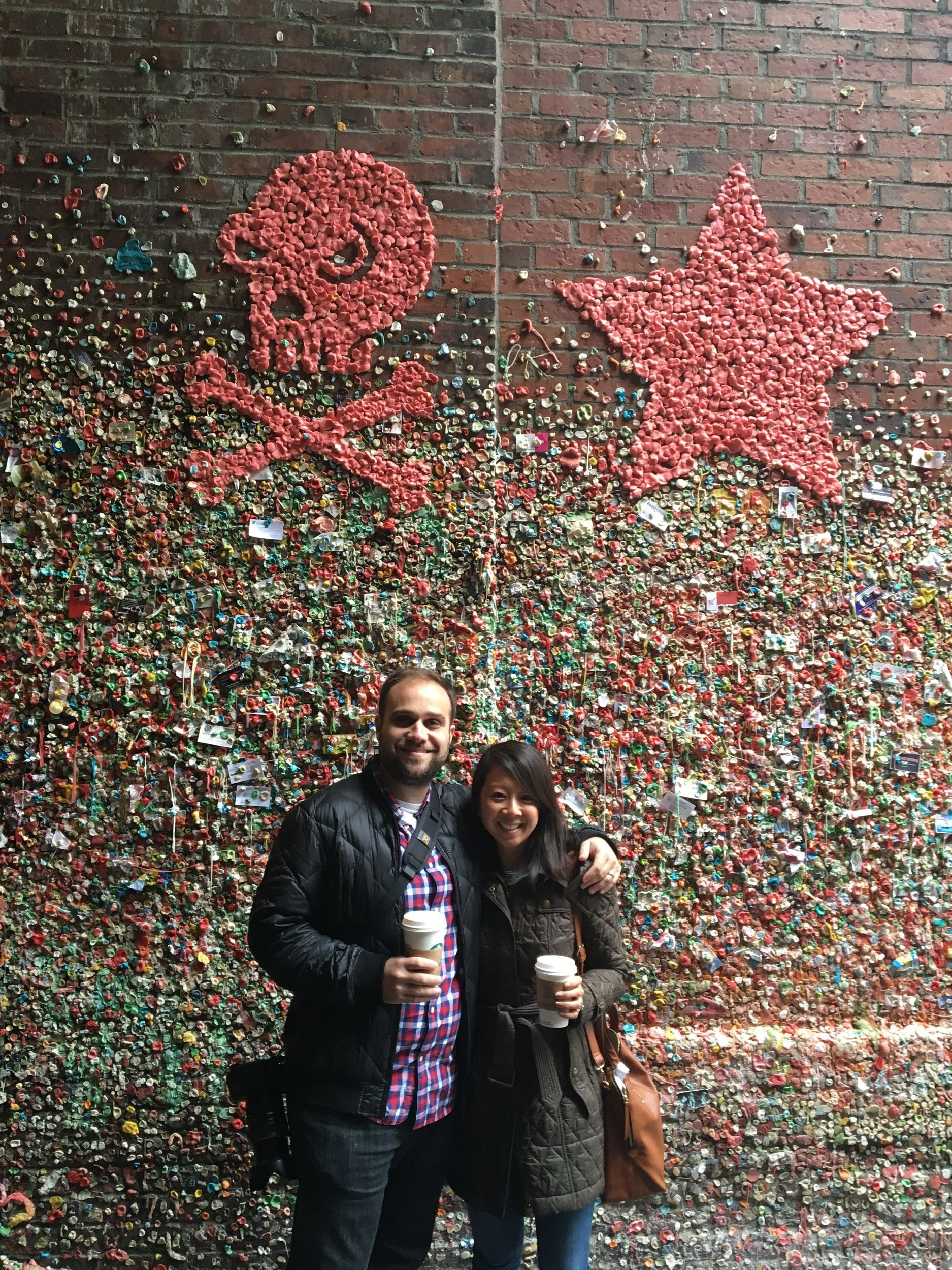 This has got to be one of the coolest/weirdest/grossest attractions we've visited. I mean, a wall full of other people's chewed up gum. But hey, when in Rome (er, Seattle). I, too, added my own piece of chewed up gum up on that  wall .