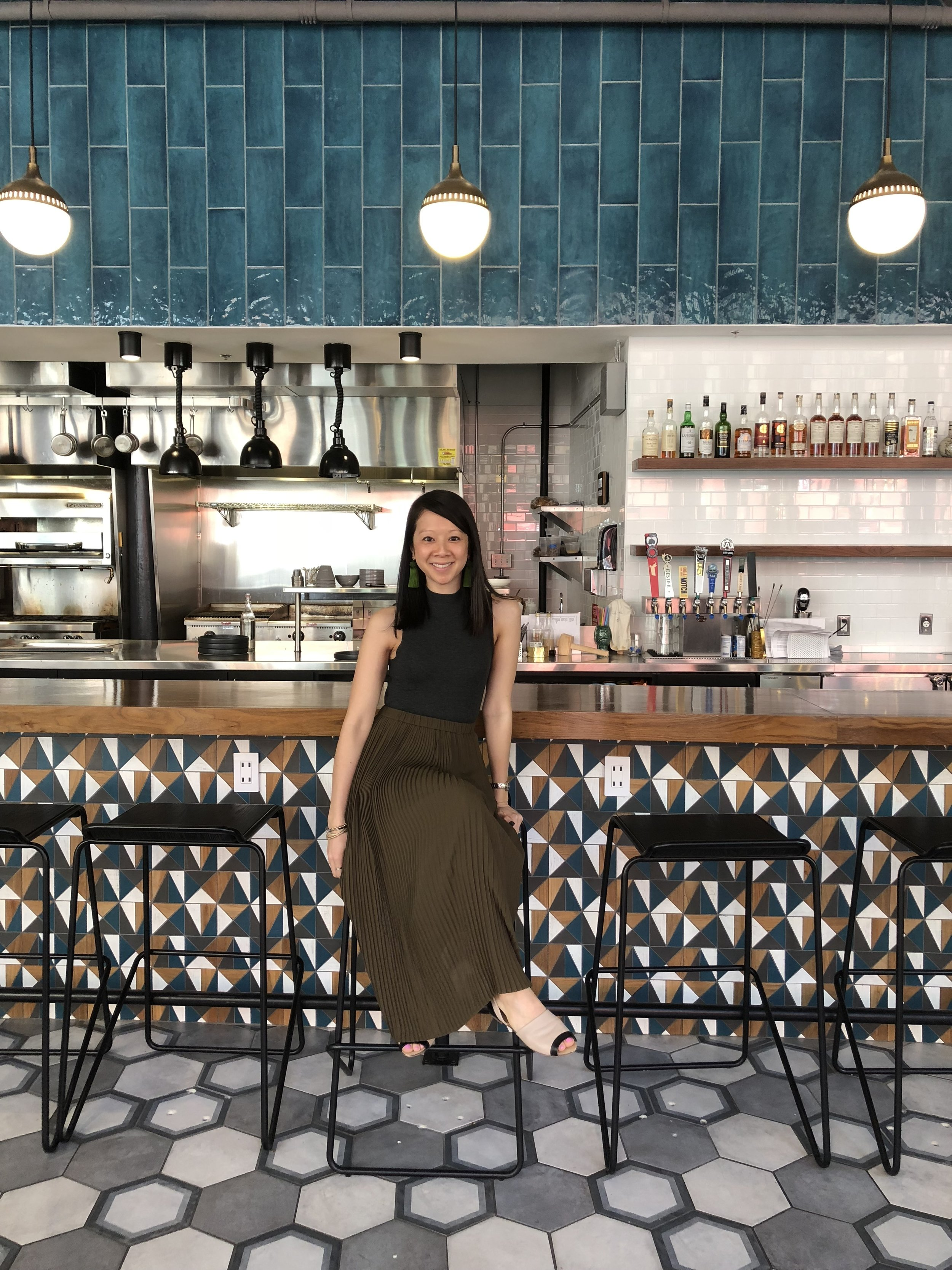 Here's a shot of the bar at Counter - I am loving the tiles on the floor and on the back of the bar area. Couldn't pass up a photo opp while it was quiet!