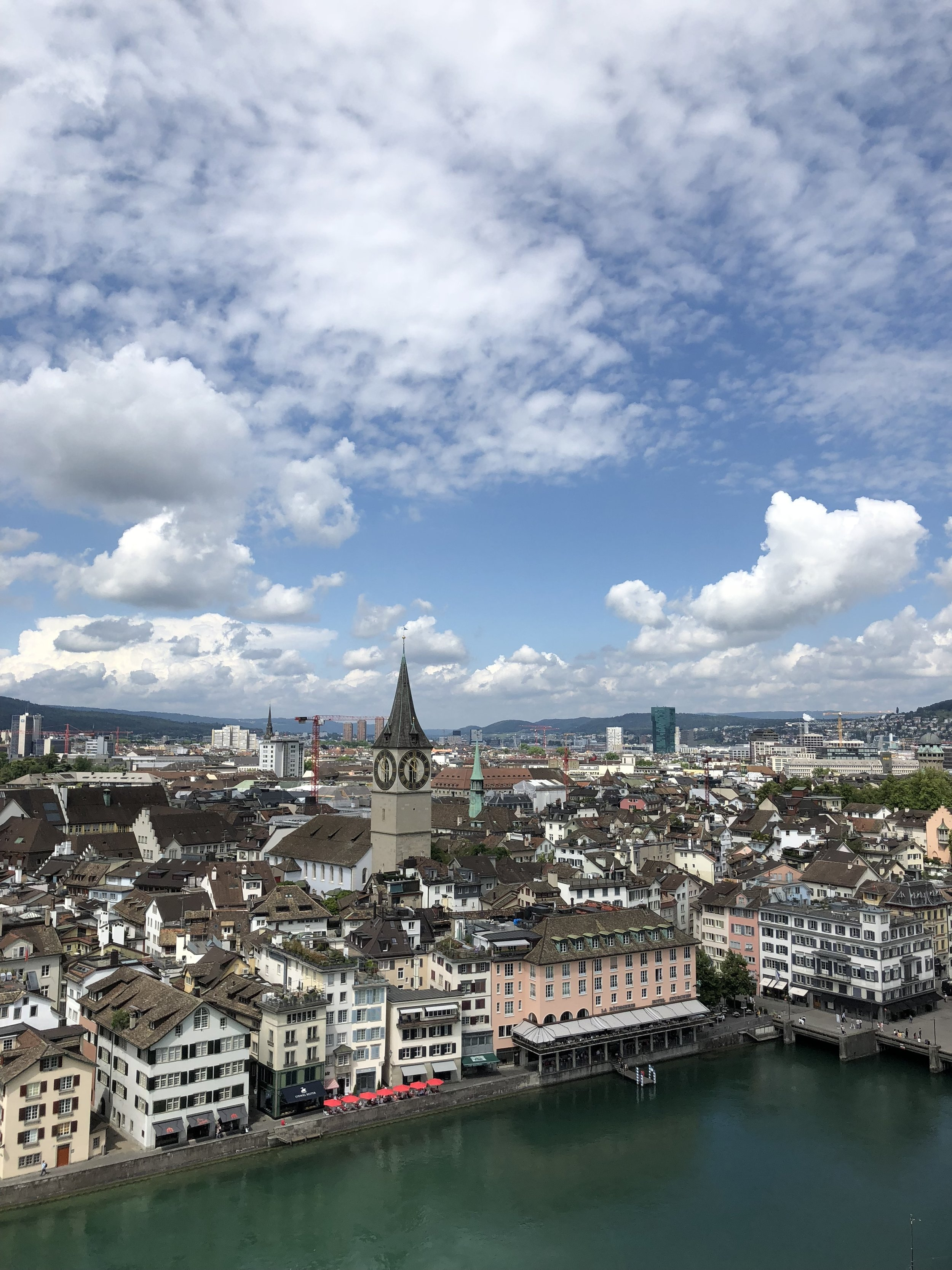 For just a few Swiss francs, we got some amazing views of Zurich from the Tower of the  Grossmunster Cathedral . We went on a beautiful clear day and it was worth every franc!