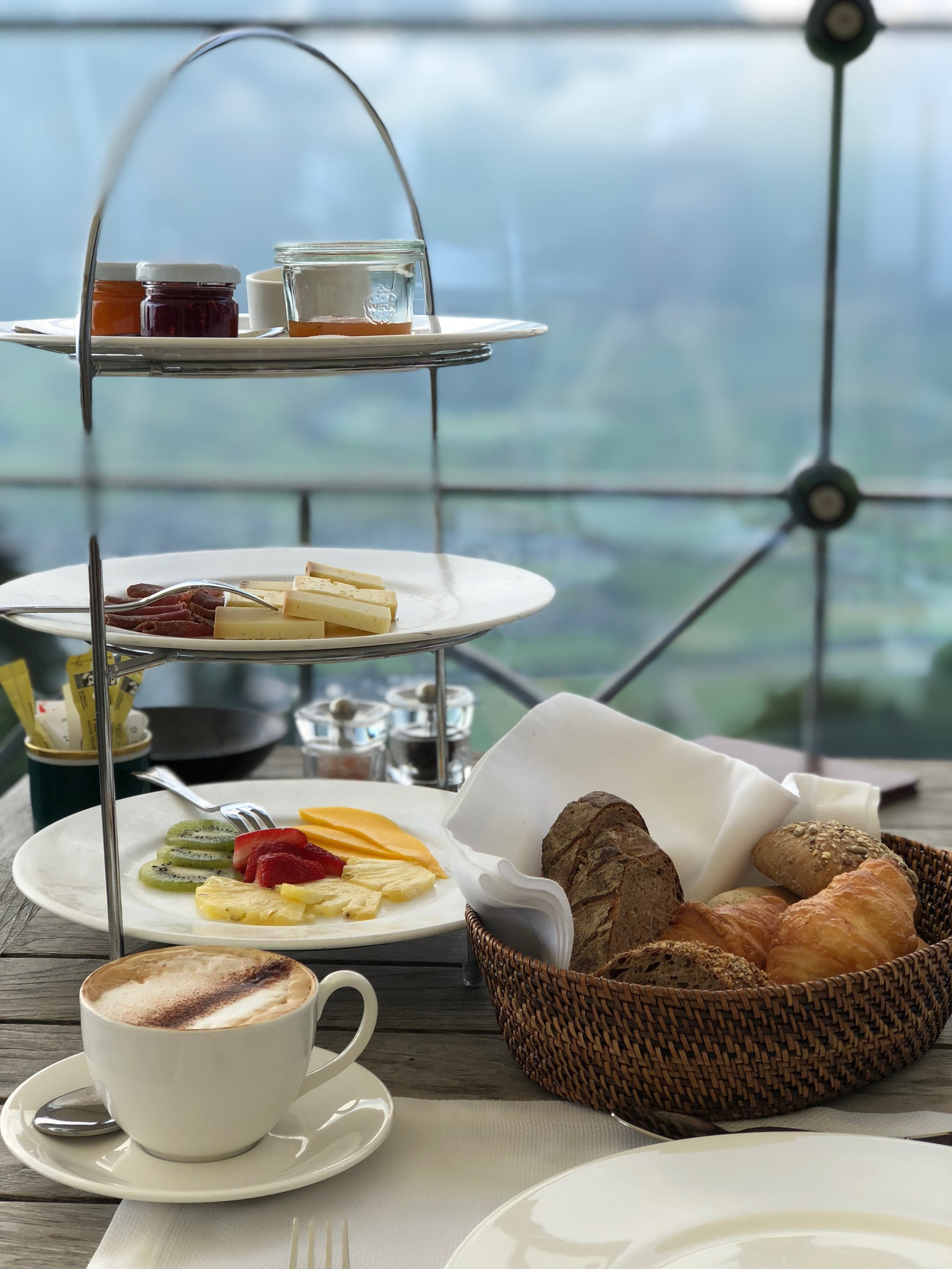 A delicious breakfast with a view! Don't worry, the top tier was reserved for Dan ;)