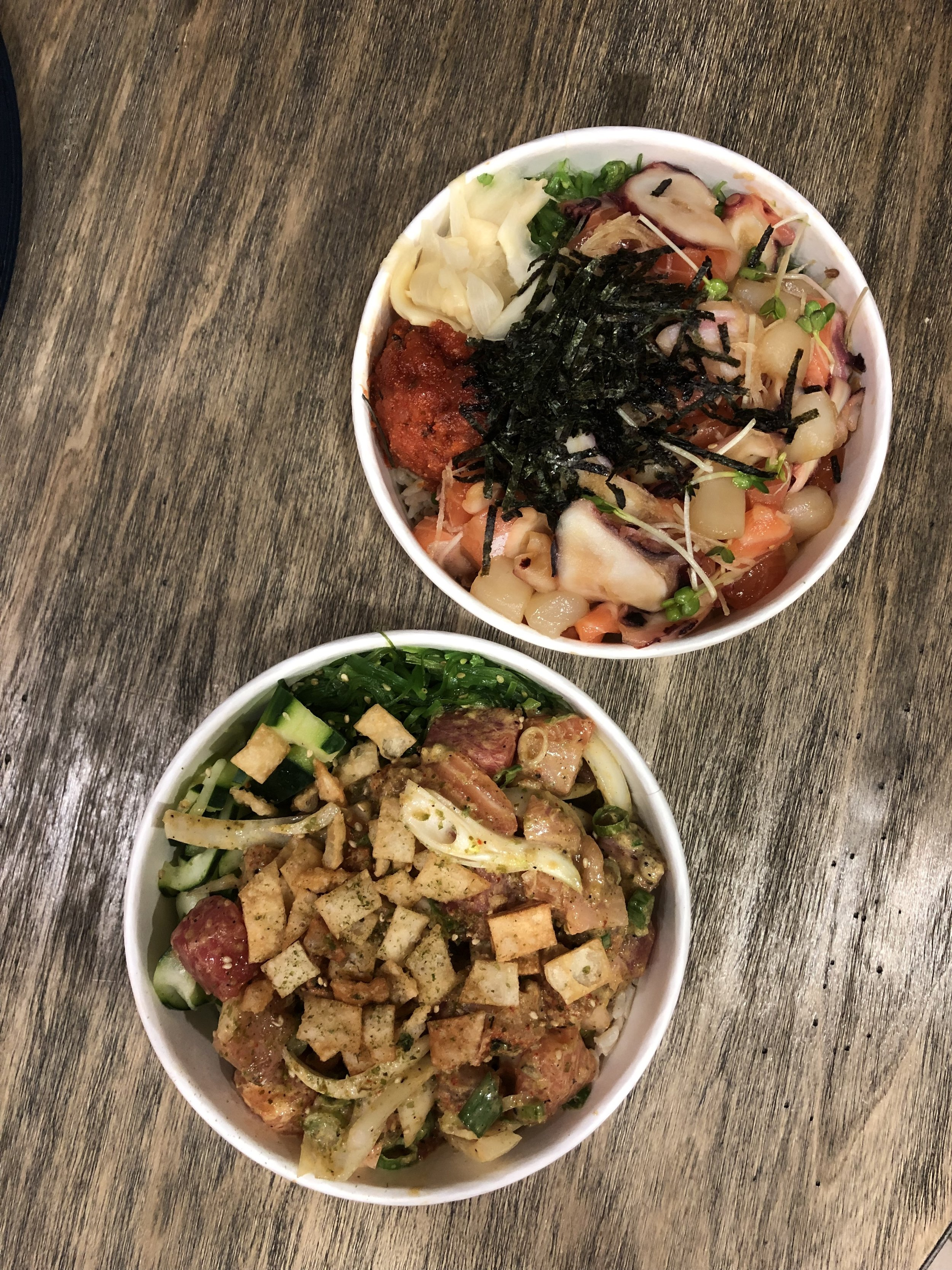 Another dine-in night called for poke bowls from  Poke Chopped . Dan customized his bowl while I went for a specialty bowl (The Chopper). The proportions were generous - neither one of us finished our bowl!