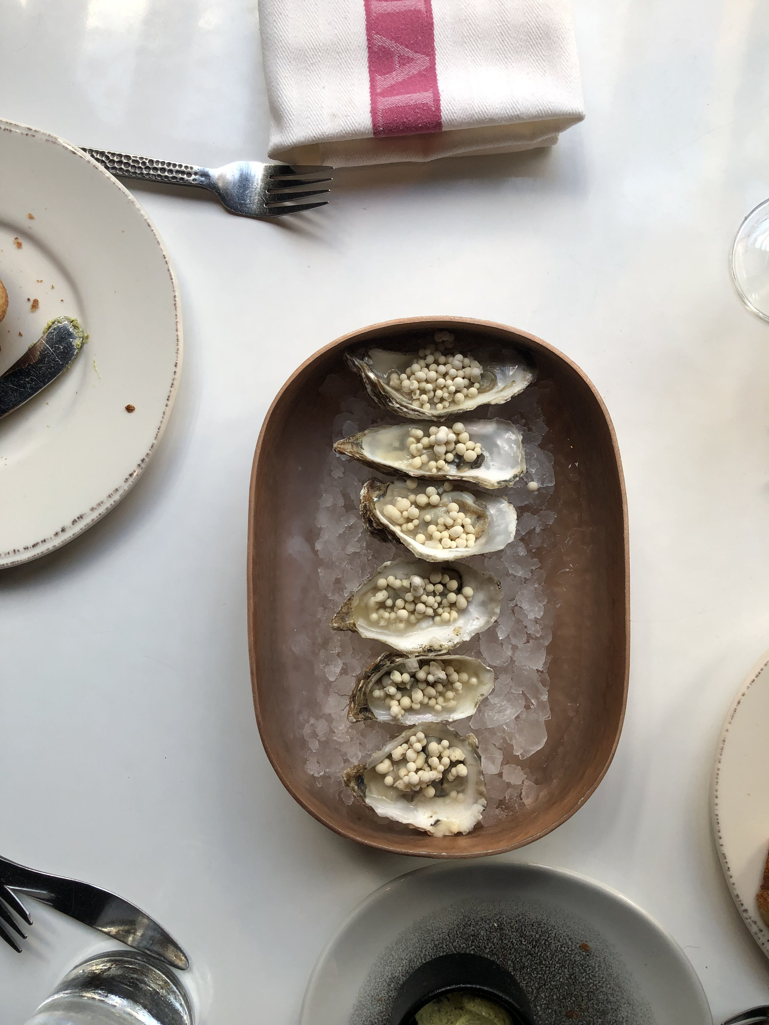 This dish was (literally) cool. Oysters with Meyer lemon pearls. They were like dip'n dots! You can see more of what we had on my SD IG highlights reel. These are just a sampling of what we ordered!
