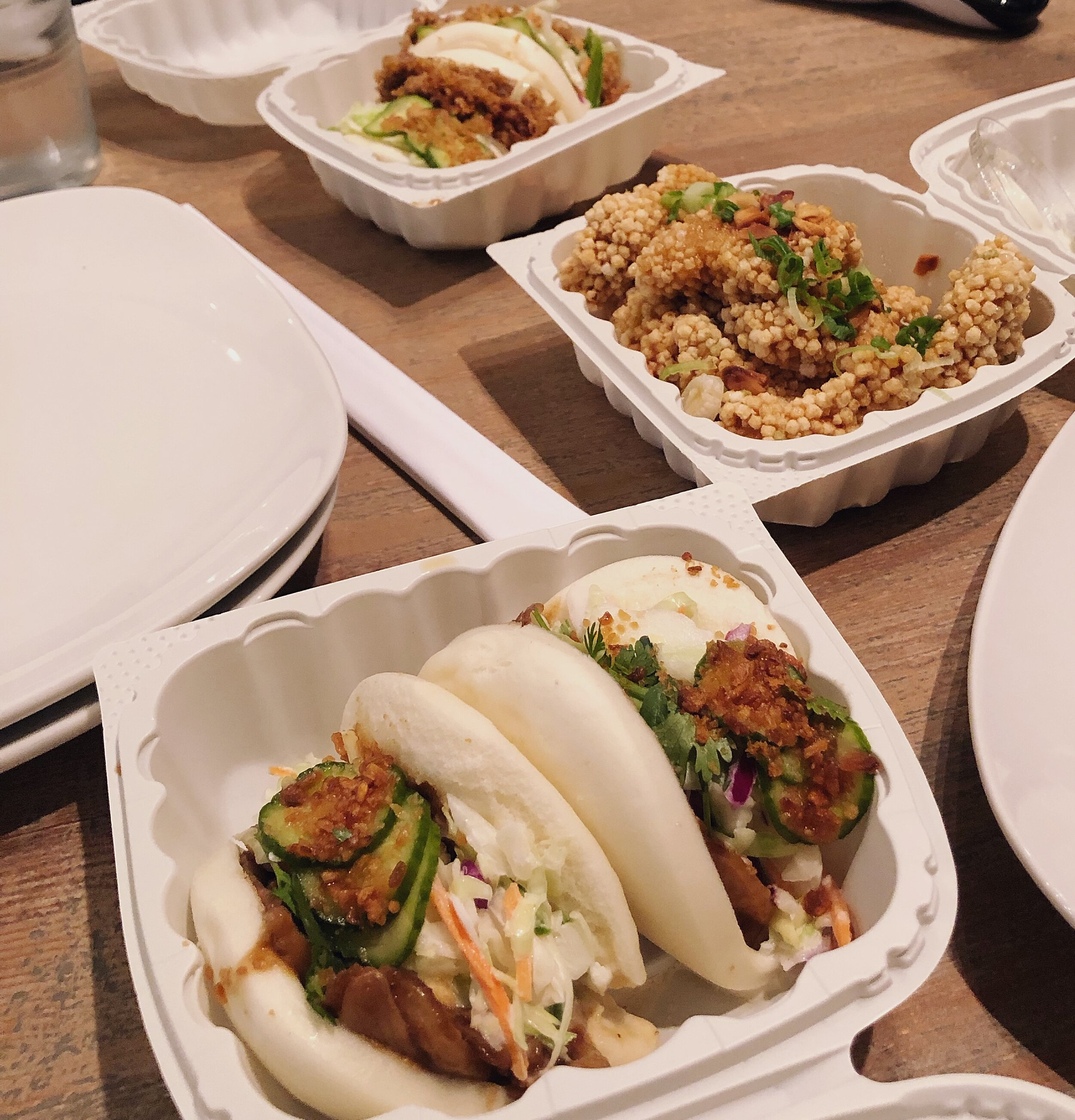 For our order-in night, we went with  Harumama Noodles and Buns . We ordered the pork belly and eggplant bao bao buns, karaage and a bowl of ramen. They have the cute character buns too! I ordered the snoopy ones (catch them cuties on my IG highlight reel), which were filled with a red bean paste.