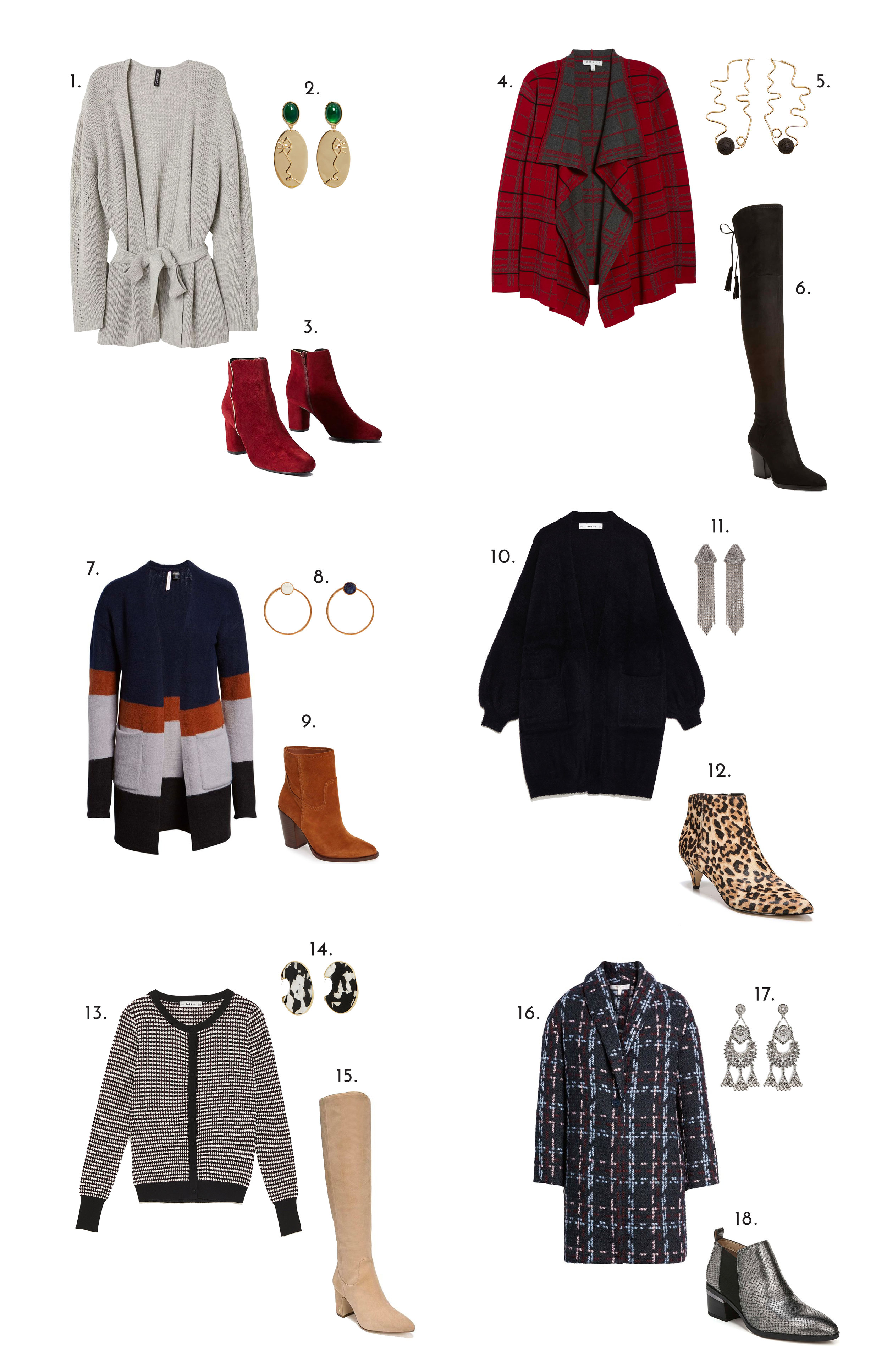 1.  H&M Tie Cardigan , 2.  Mango Face Earrings , 3.  Anthropologie   Booties , 4.  Plaid Cardigan , 5.  Mango Abstract Earrings , 6.  Over-the-knee Boots , 7.  Color-block Sweater , 8.  Mango Hoop Earrings , 9.  Western Booties , 10.  Zara Faux Fur Knit Jacket , 11.  Mango Crystal Earrings , 12.  Leopard Booties , 13.  Zara Cardigan , 14.  Mango Tortoise Shell Earrings , 15.  Nude Knee-High Boots , 16.  Cocoon Cardigan , 17.  Forever 21 Earrings , 18.  Silver Booties