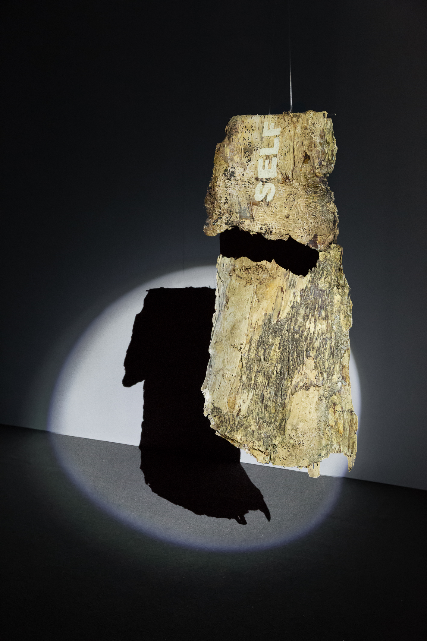 Megan Cope, The Empire Strikes Black II (Self Determination), 2018, Oodgeroo (paperbark), Ochre and Beeswax 104 x 48 cm (approx.)