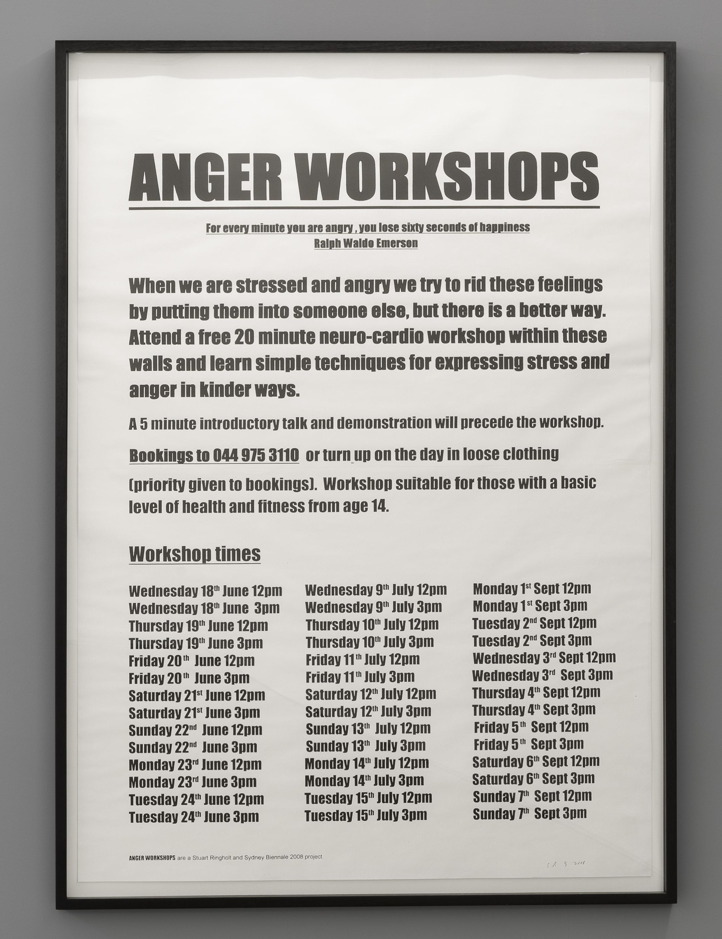 Stuart Ringholt,  Anger Workshops  (2008-ongoing), Poster, 2012, Edition of 12, 166 x 117 cm