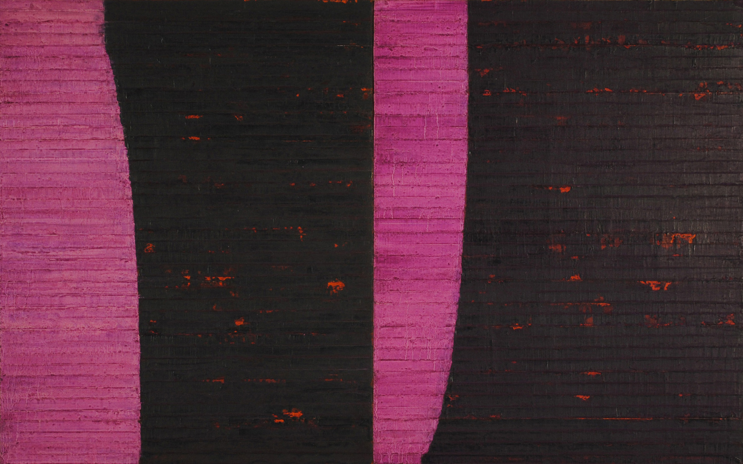 Linea Terminale: 1.11, 2011, Oil on linen over panels, 20 x 36 inches.