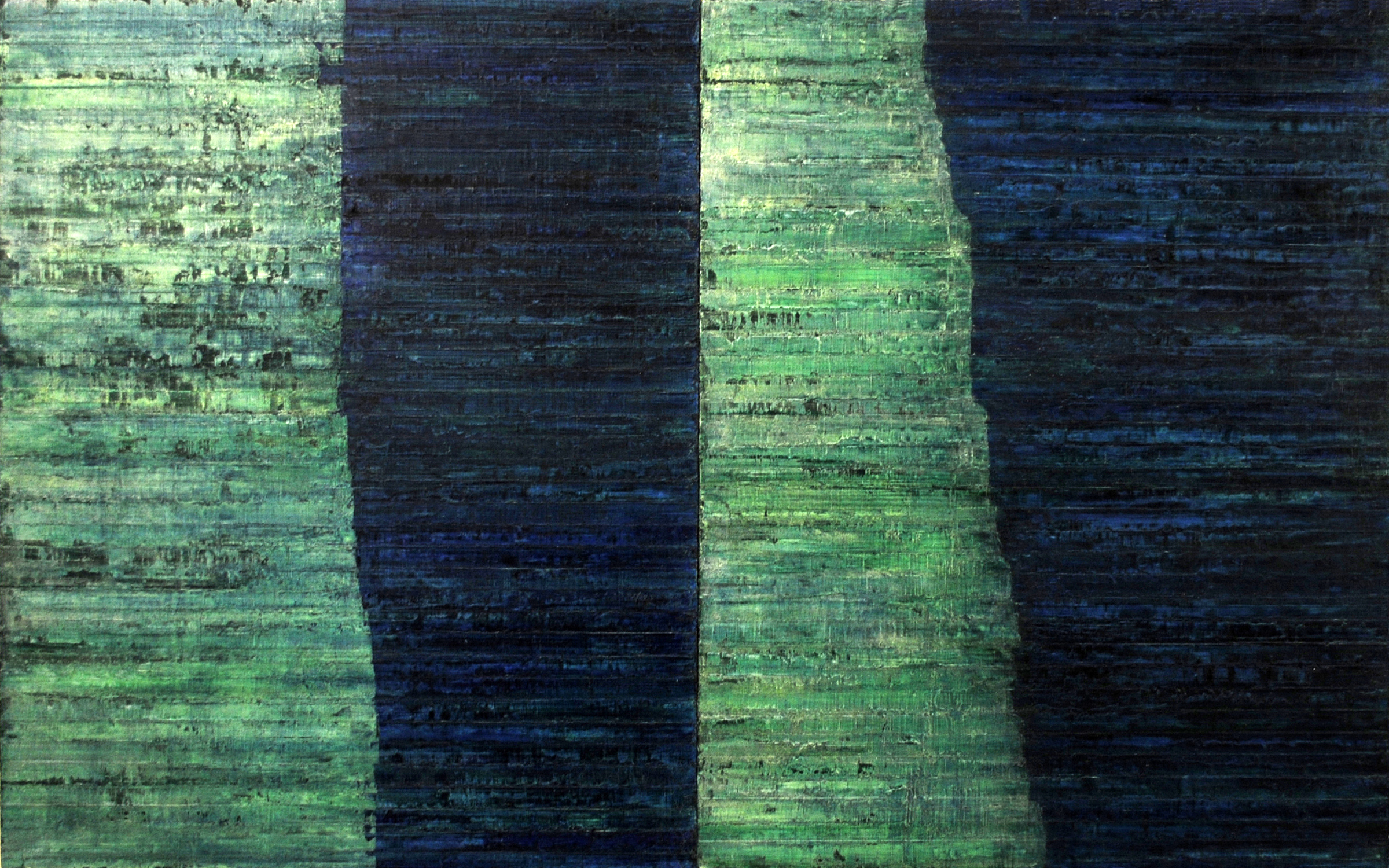 Linea Terminale: 3.10, 2010, Oil on linen over panels, 20 x 36 inches.