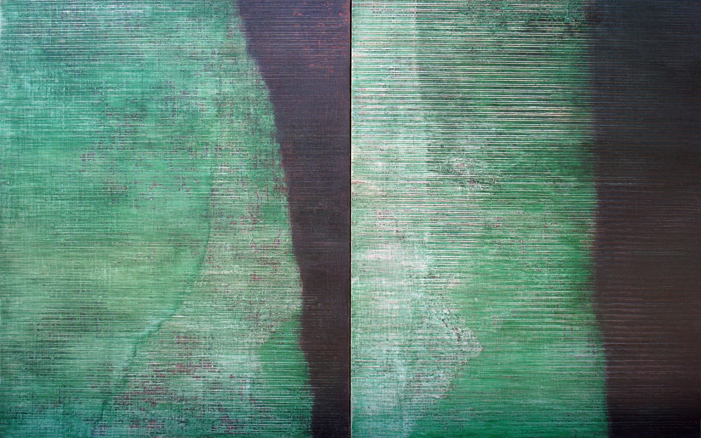 Linea Terminale: 3.12, 2012, Oil on linen over panels, 20 x 36 inches.