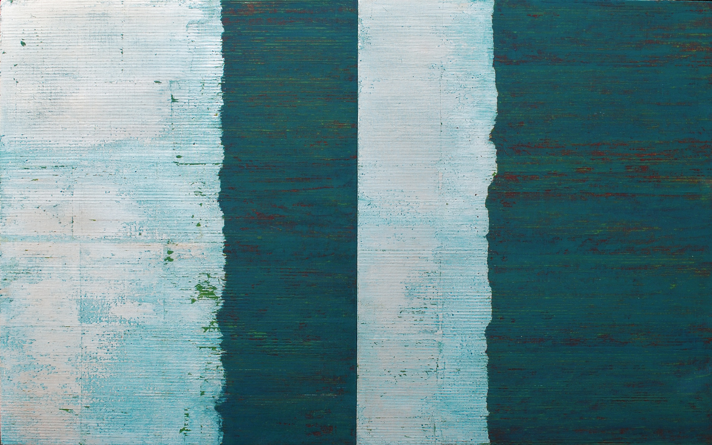 Linea Terminale: 3.13, 2013, Oil, silver leaf on linen over panels, 20 x 32 inches.