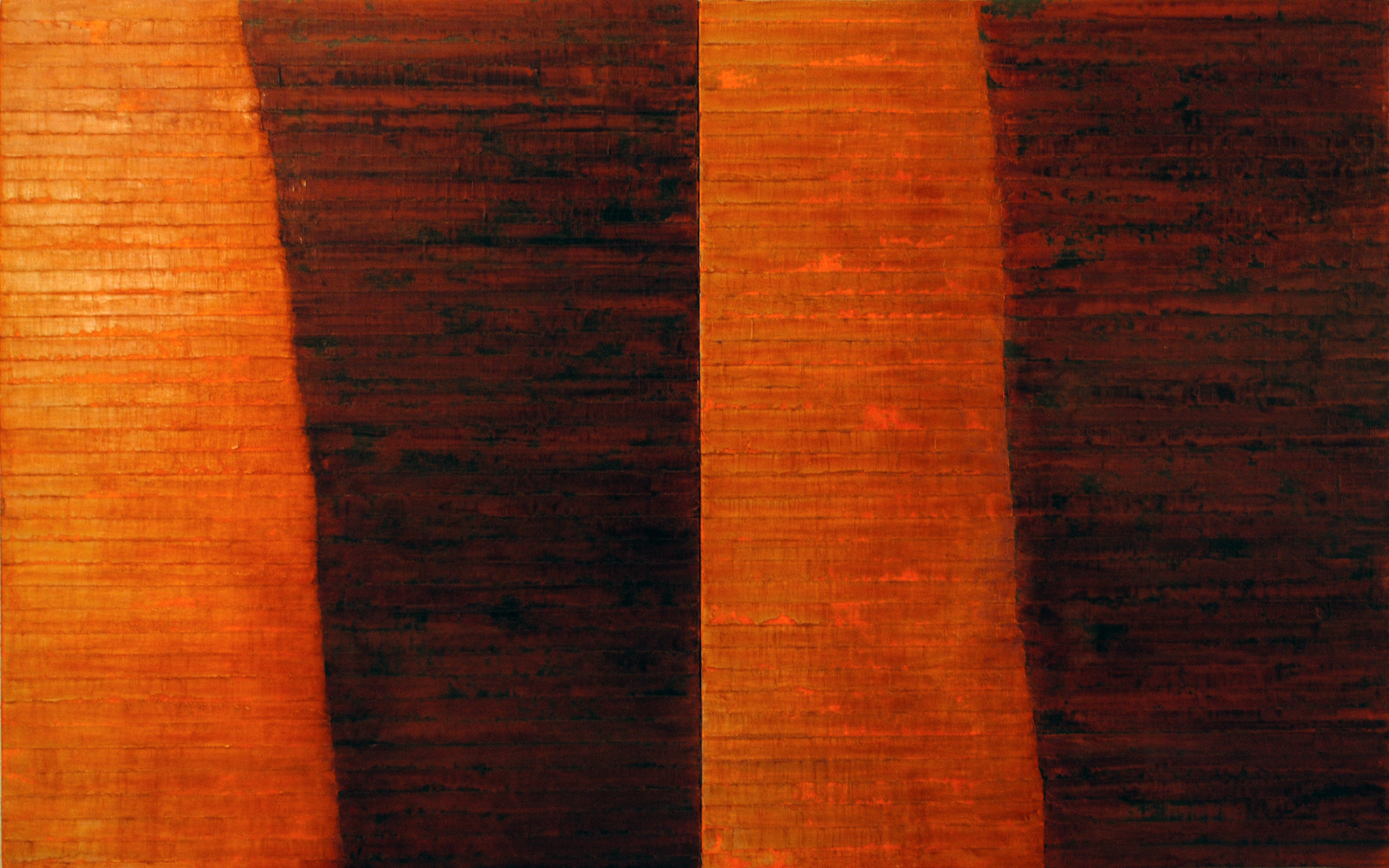Linea Terminale: 4.10, 2010, Oil on linen over panels, 20 x 36 inches.
