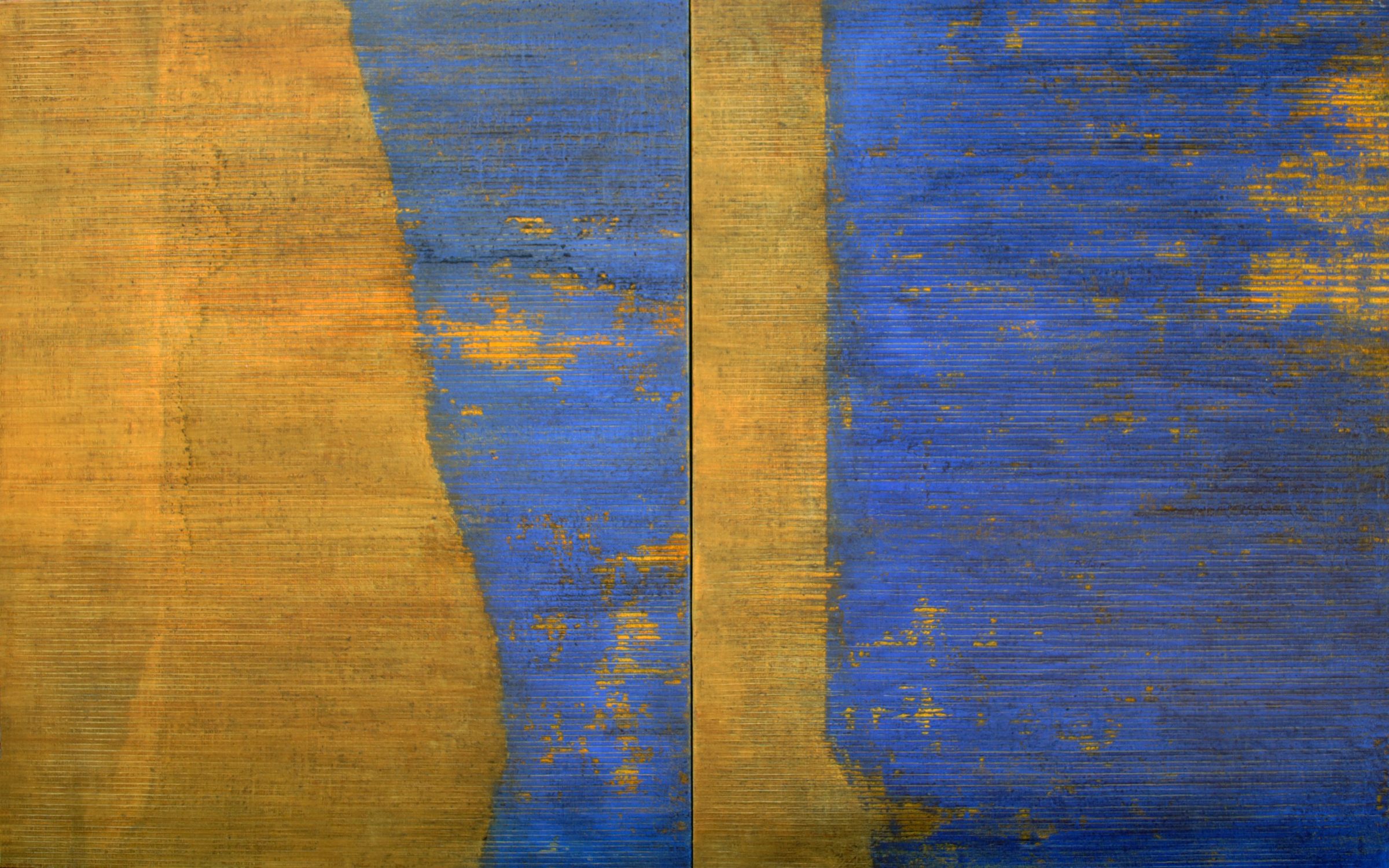 Linea Terminale: 4.12, 2012, Oil on linen over panels, 20 x 36 inches.