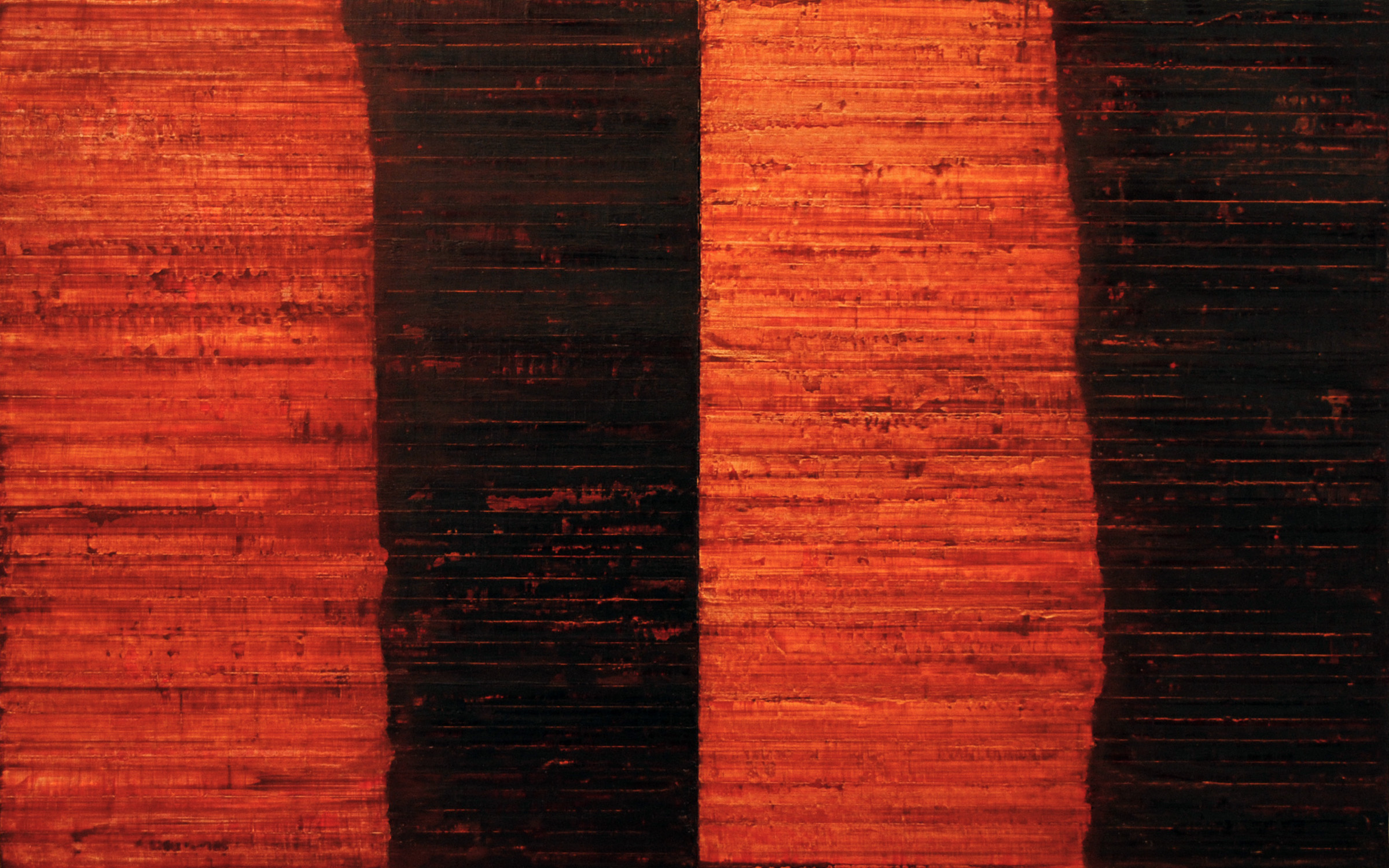 Linea Terminale: 5.10, 2010, Oil on linen over panels, 20 x 36 inches.