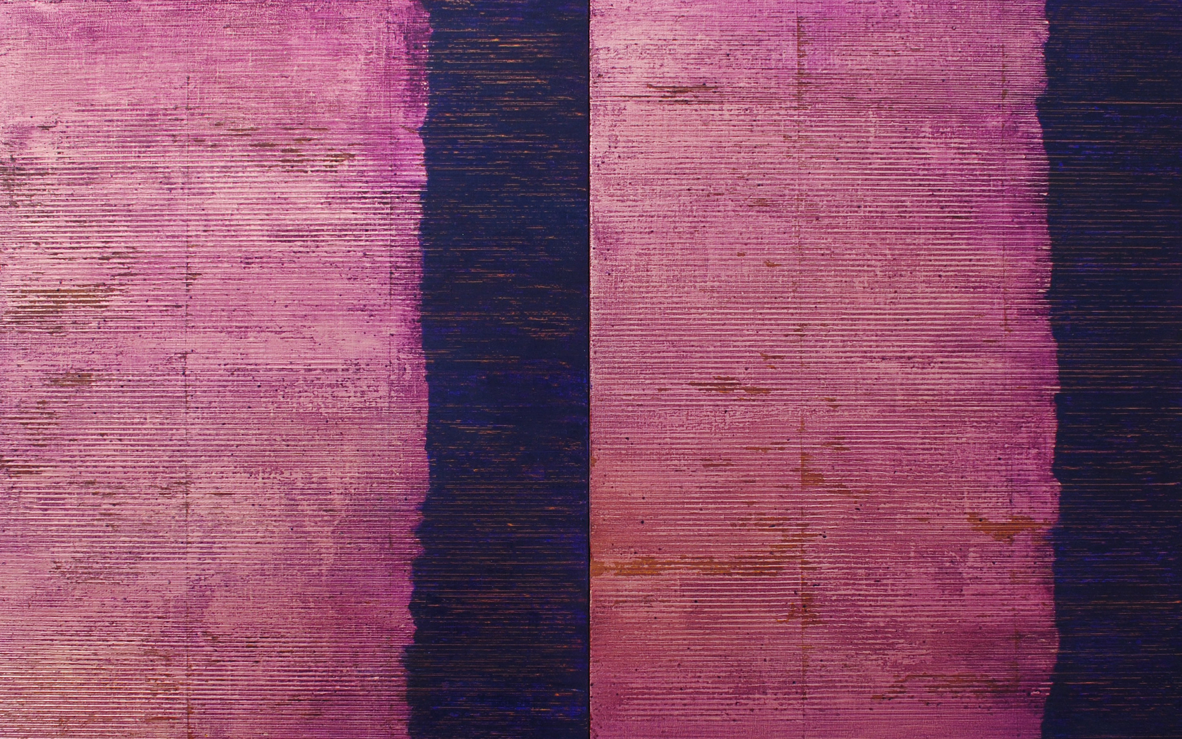 Linea Terminale: 4.13, 2013, Oil, copper leaf on linen over panels, 20 x 32 inches.
