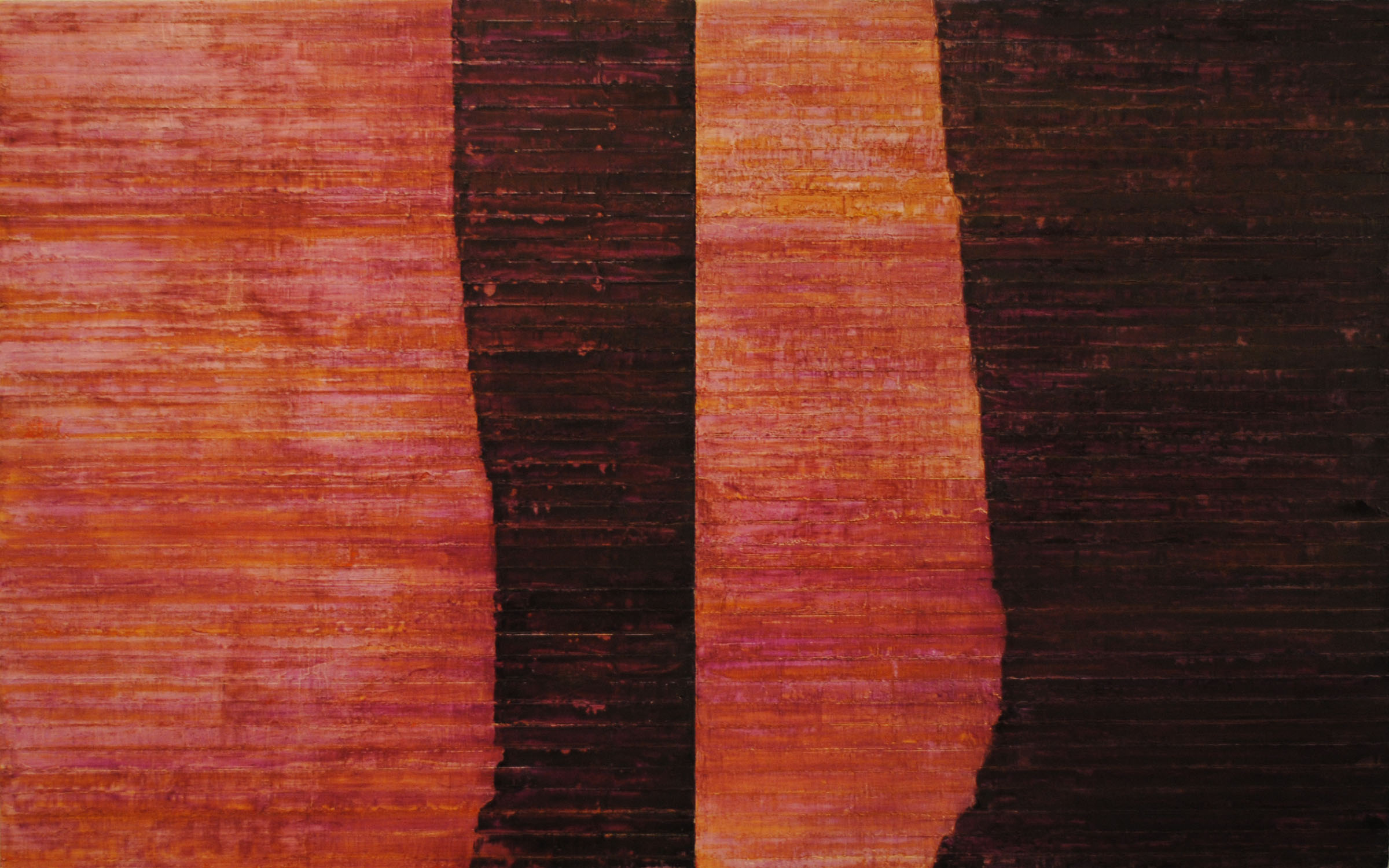 Linea Terminale: 6.10, 2010, Oil on linen over panels, 20 x 36 inches.