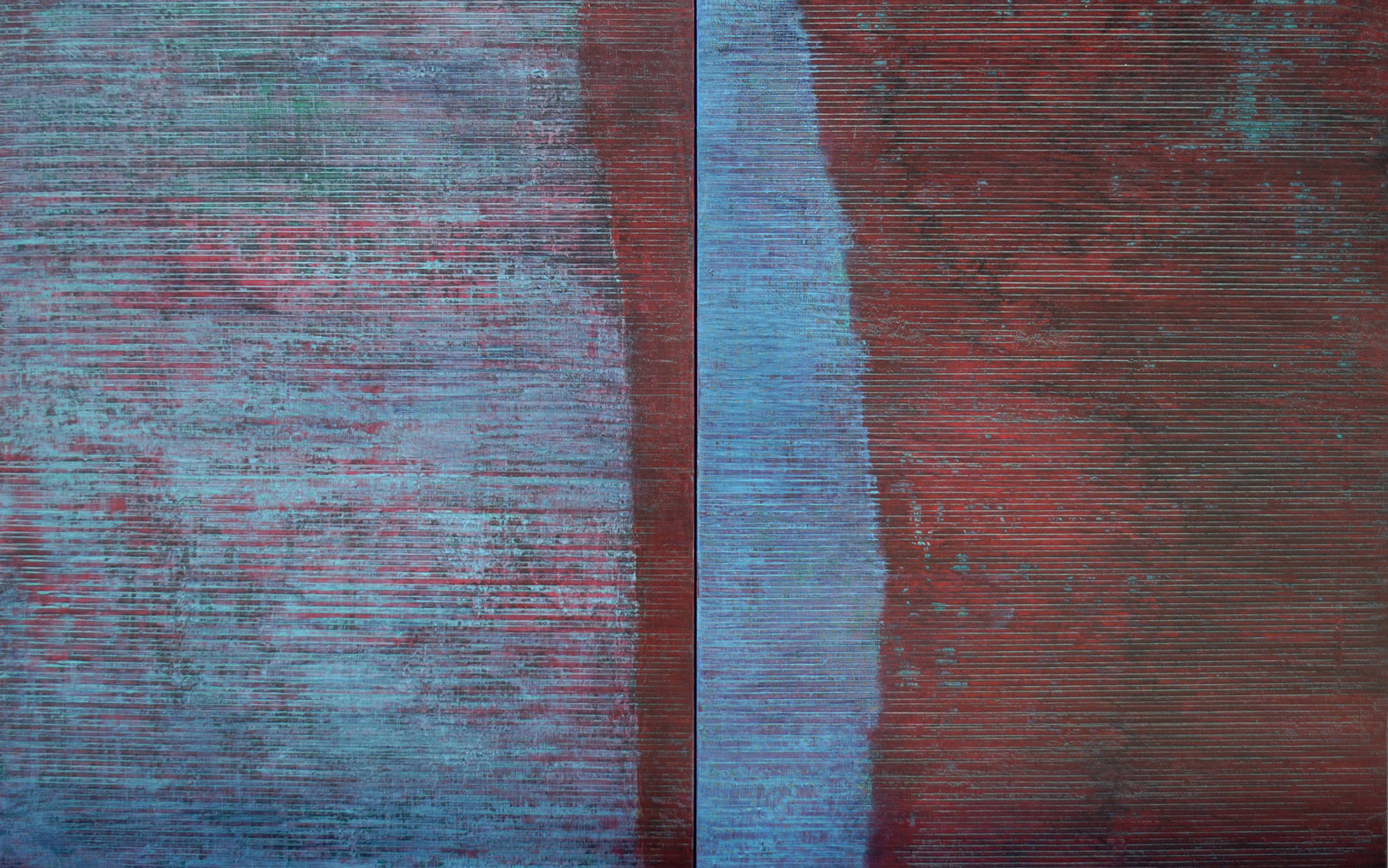 Linea Terminale: 5.12, 2012, Oil on linen over panels, 20 x 36 inches.