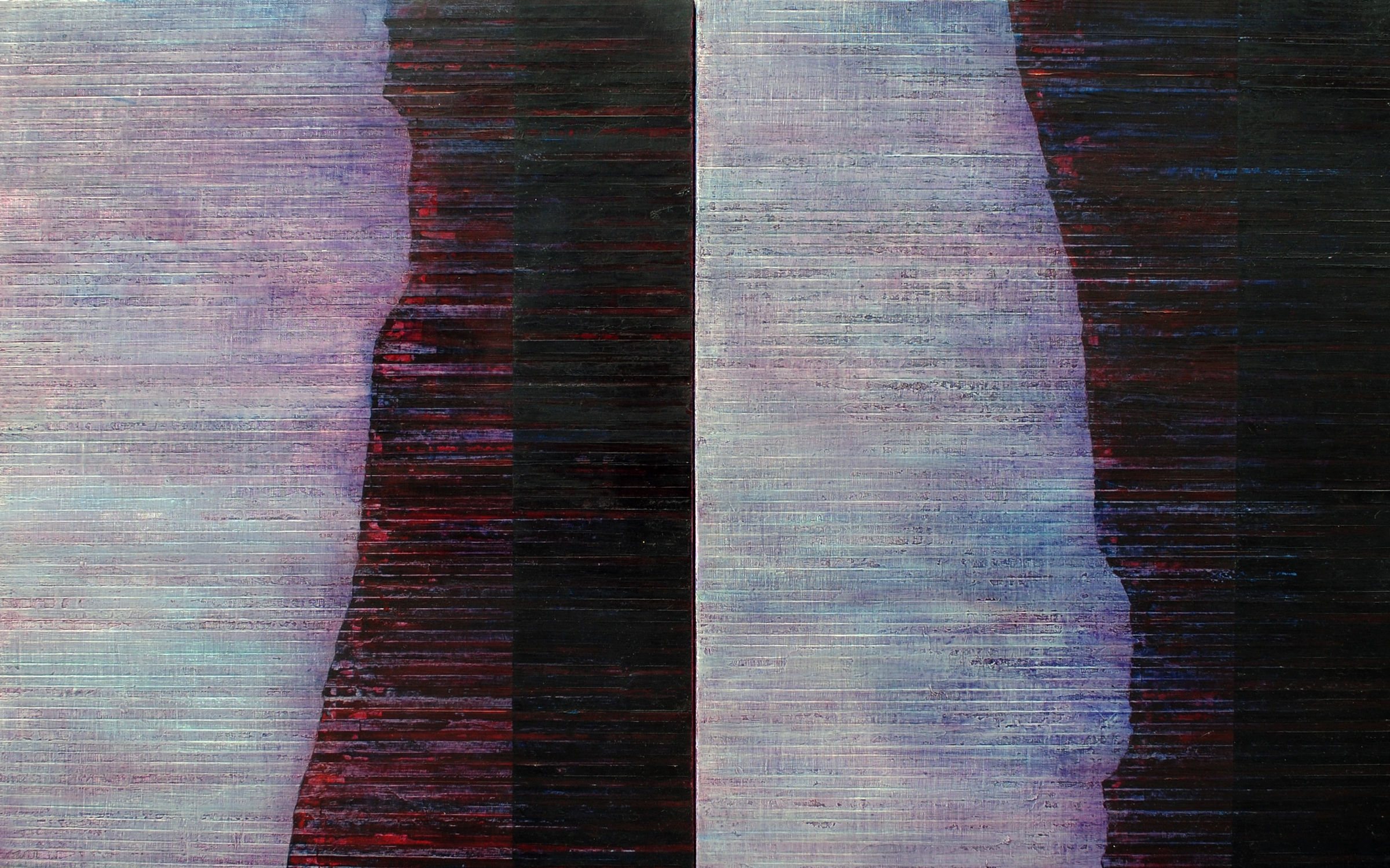Linea Terminale: 7.12, 2012, Oil on linen over panels, 20 x 36 inches.