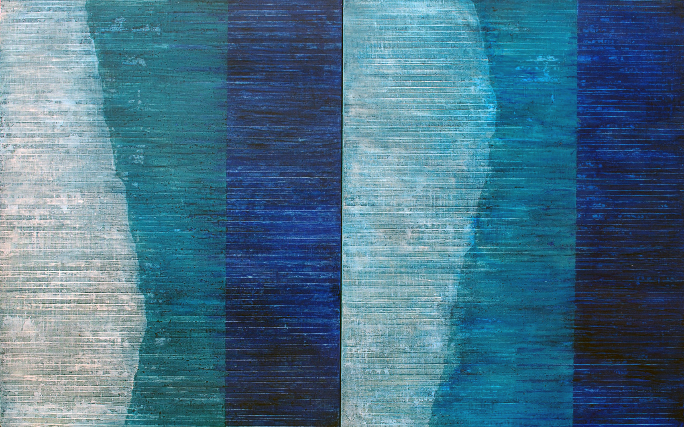 Linea Terminale: 8.12, 2012, Oil on linen over panels, 20 x 36 inches.