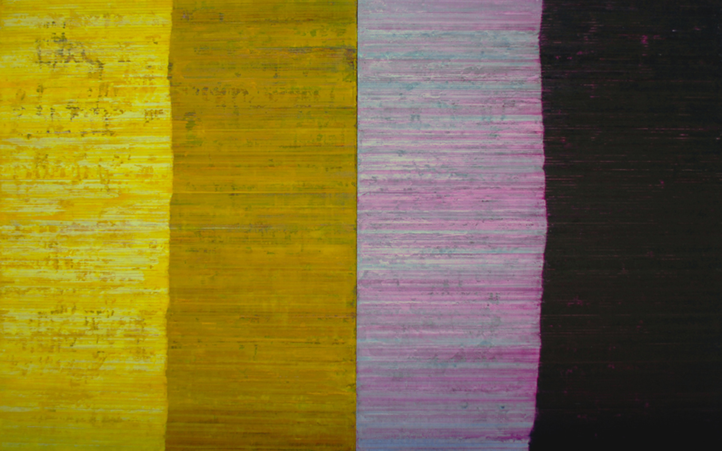 Linea Terminale: 10.11, 2011, Oil on linen over panels, 20 x 36 inches.