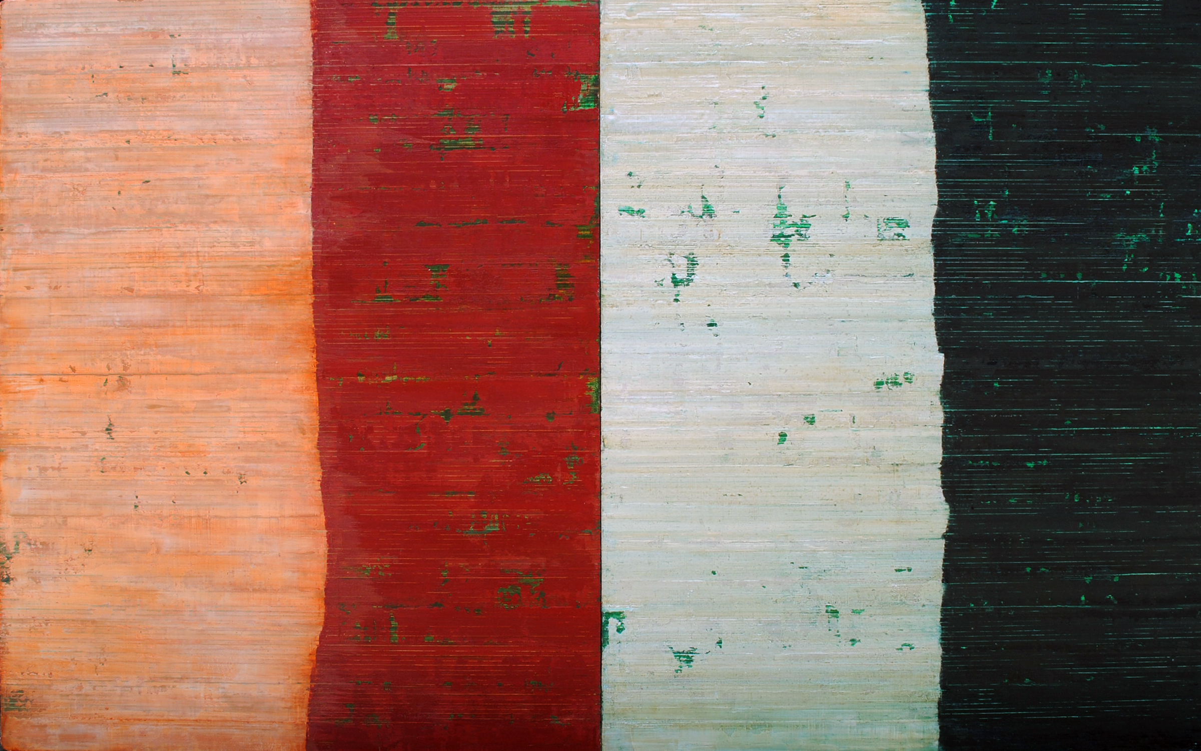 Linea Terminale: 9.11, 2011, Oil on linen over panels, 20 x 36 inches.