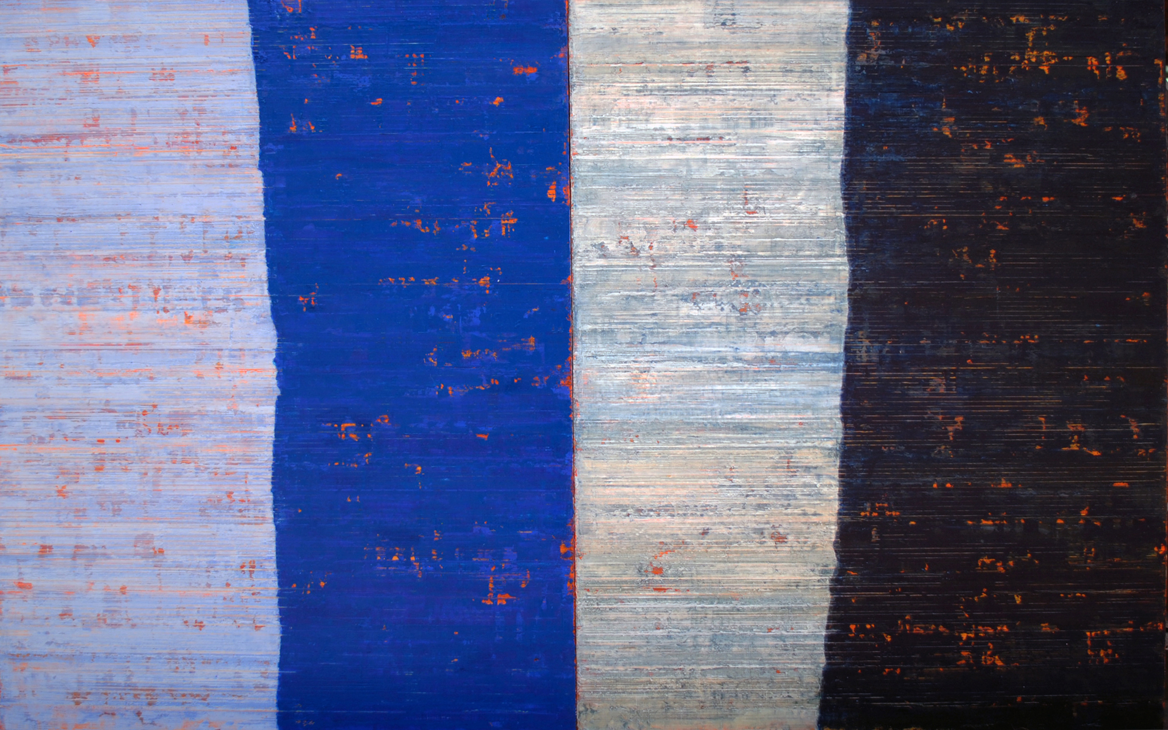 Linea Terminale: 11.11, 2011, Oil on linen over panels, 20 x 36 inches.