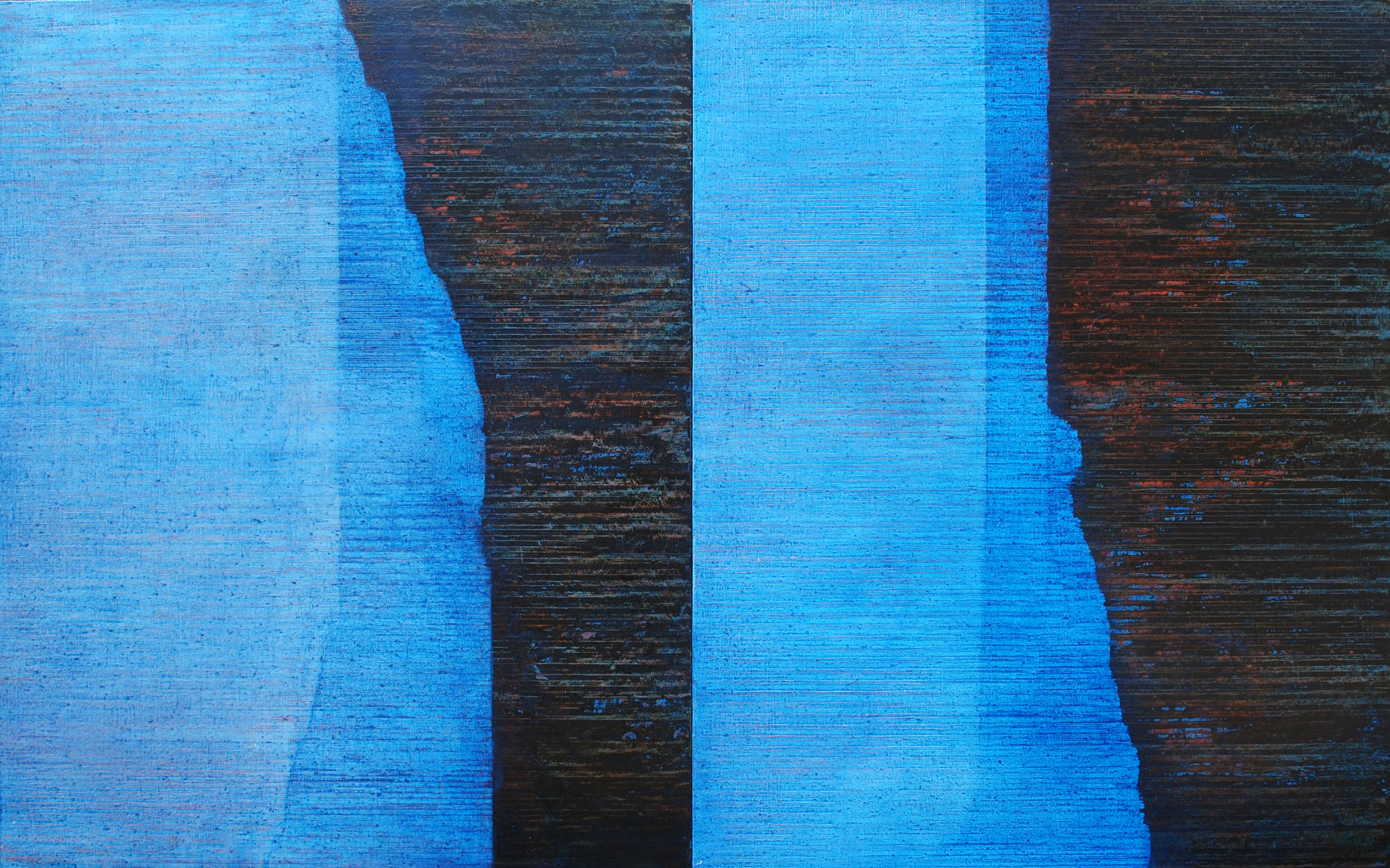 Linea Terminale: 12.12, 2012, Oil on linen over panels, 20 x 36 inches.
