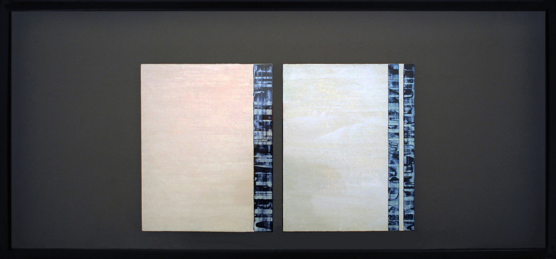 ISIS 31: Duo, 2014, Oil, acrylic on linen over panels, shadow box, 22 x 47 inches