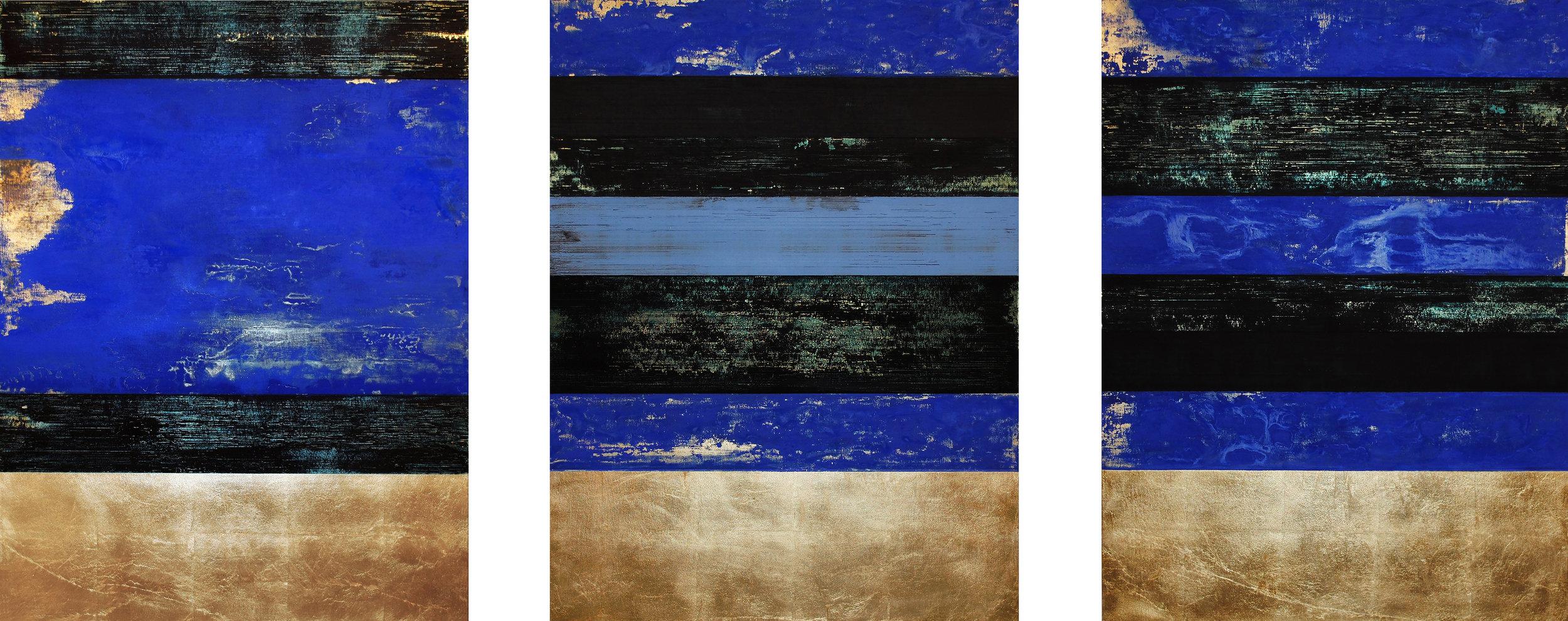 Déjà vu Blue, 2016, Oil, acrylic, gold leaf on wood panels, 40 x 100 inches.