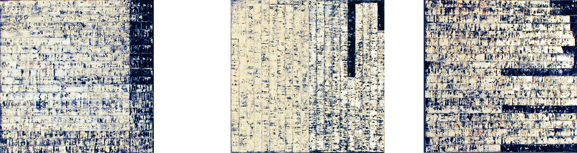 ISIS 20: Trilogy, 2010, Oil, acrylic on canvases, 20 x 75 inches.