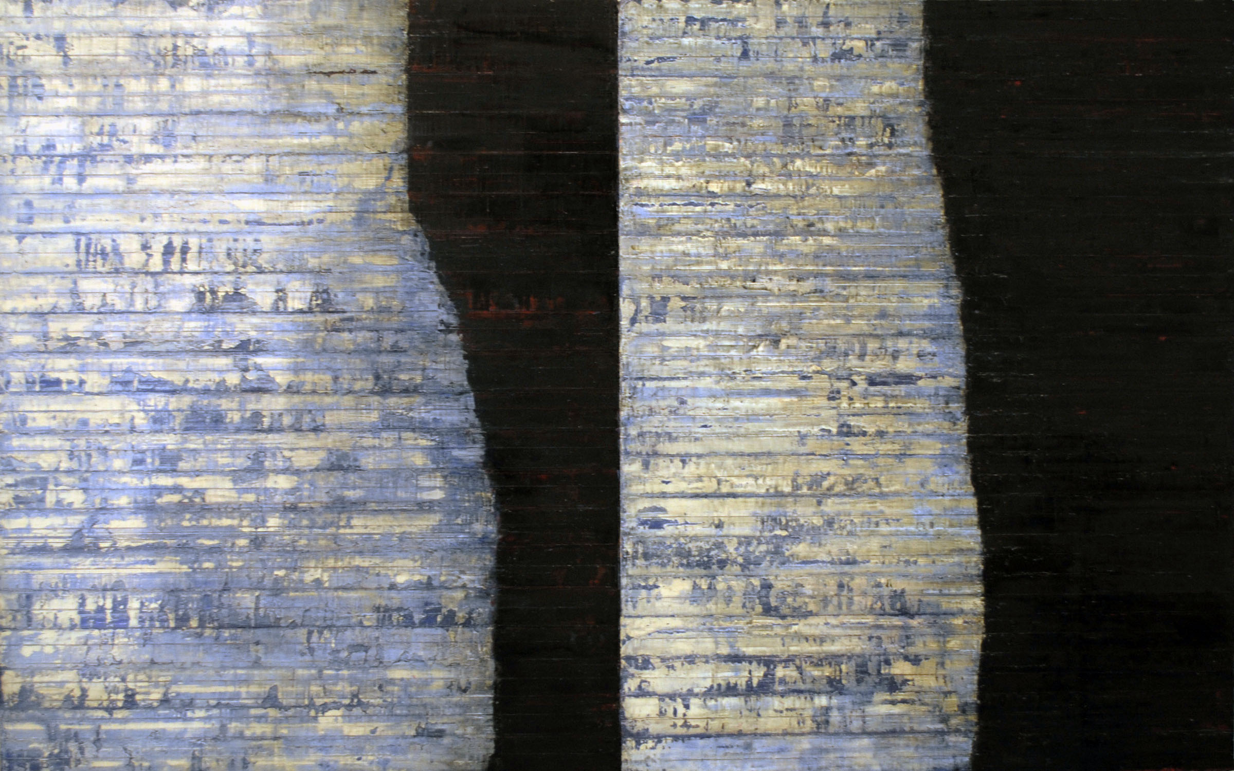 Linea Terminale: 12.09, 2009, Oil on linen over panels, 20 x 36 inches.