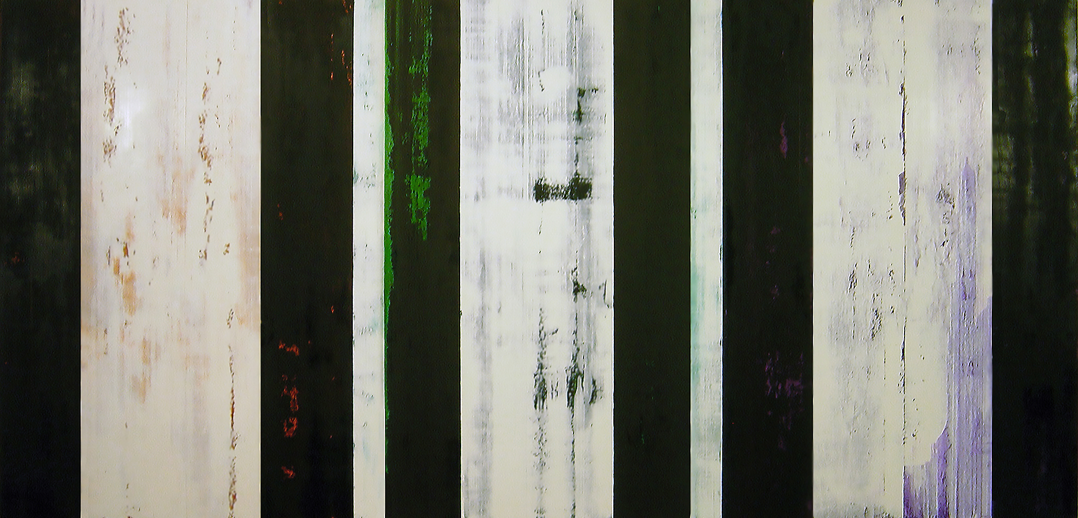 ISIS 8: 2008, Oil, acrylic on canvas over panels, 48 x 108 inches.
