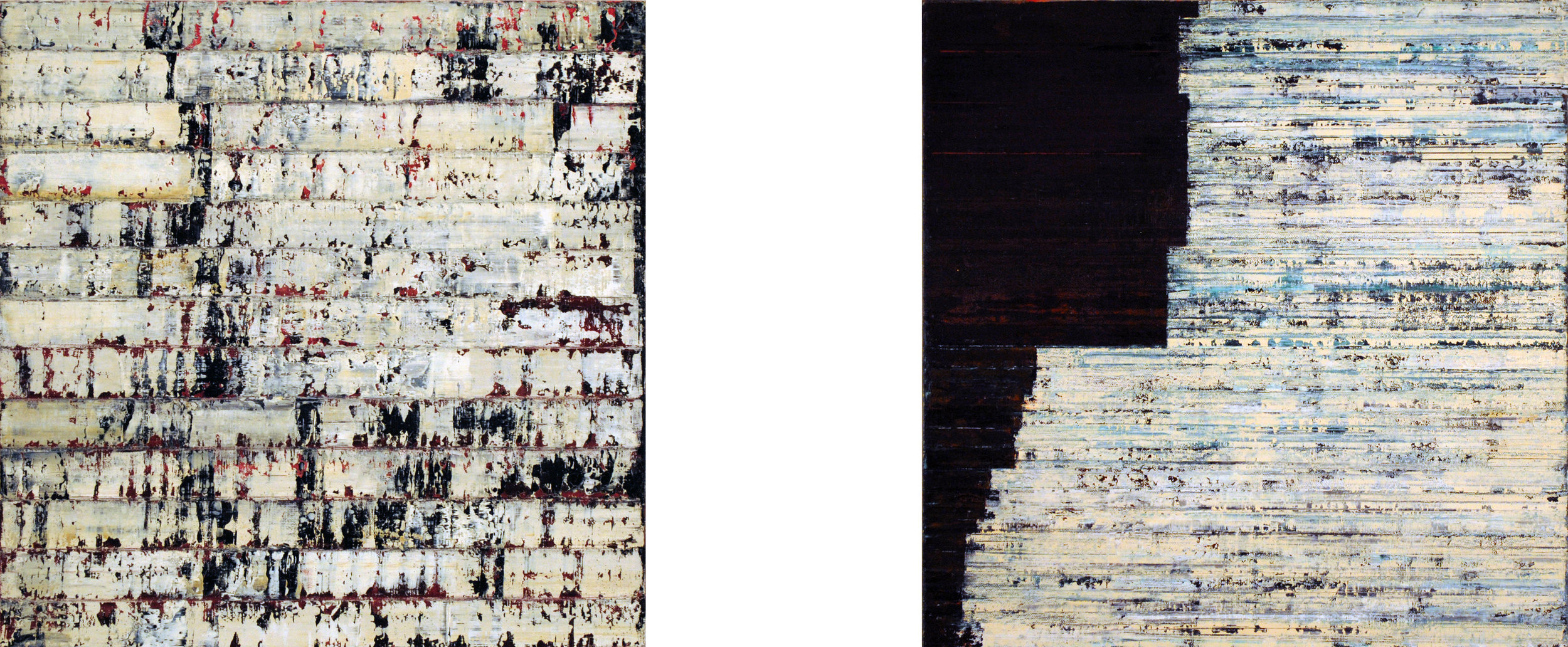 ISIS 10 & 11, 2008, Oil and acrylic on canvases, 16 x 38.75 inches.