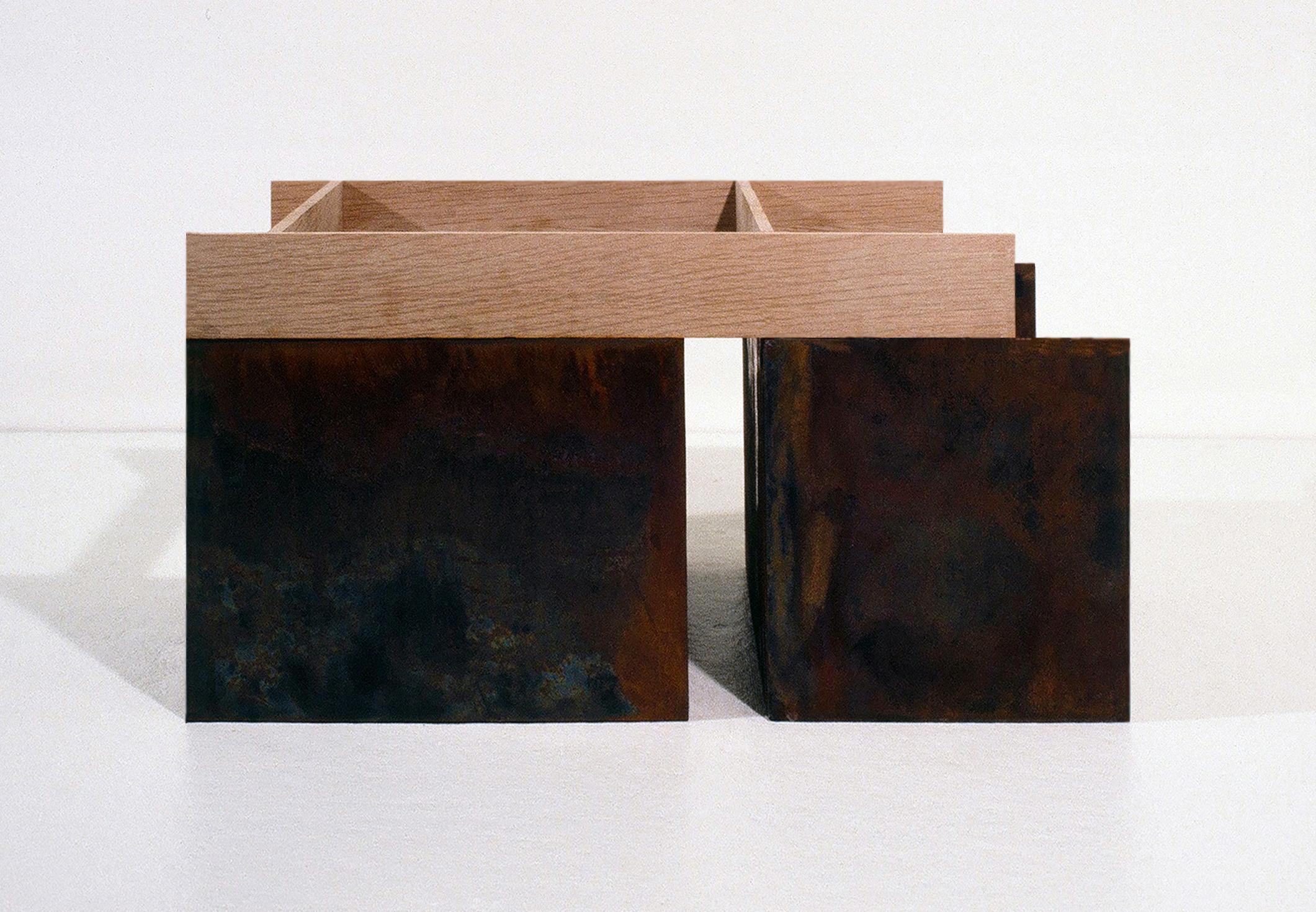 1978, Corten steel, oak, 10.5 x 22 x 12 inches.