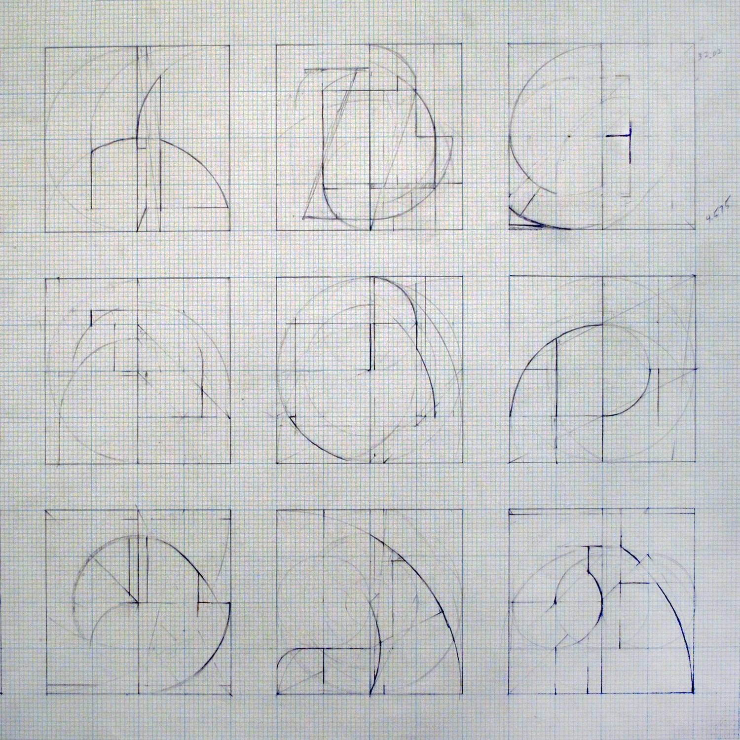 Janus Sketches, 1985, pencil, graph paper, 16 x 16 inches.