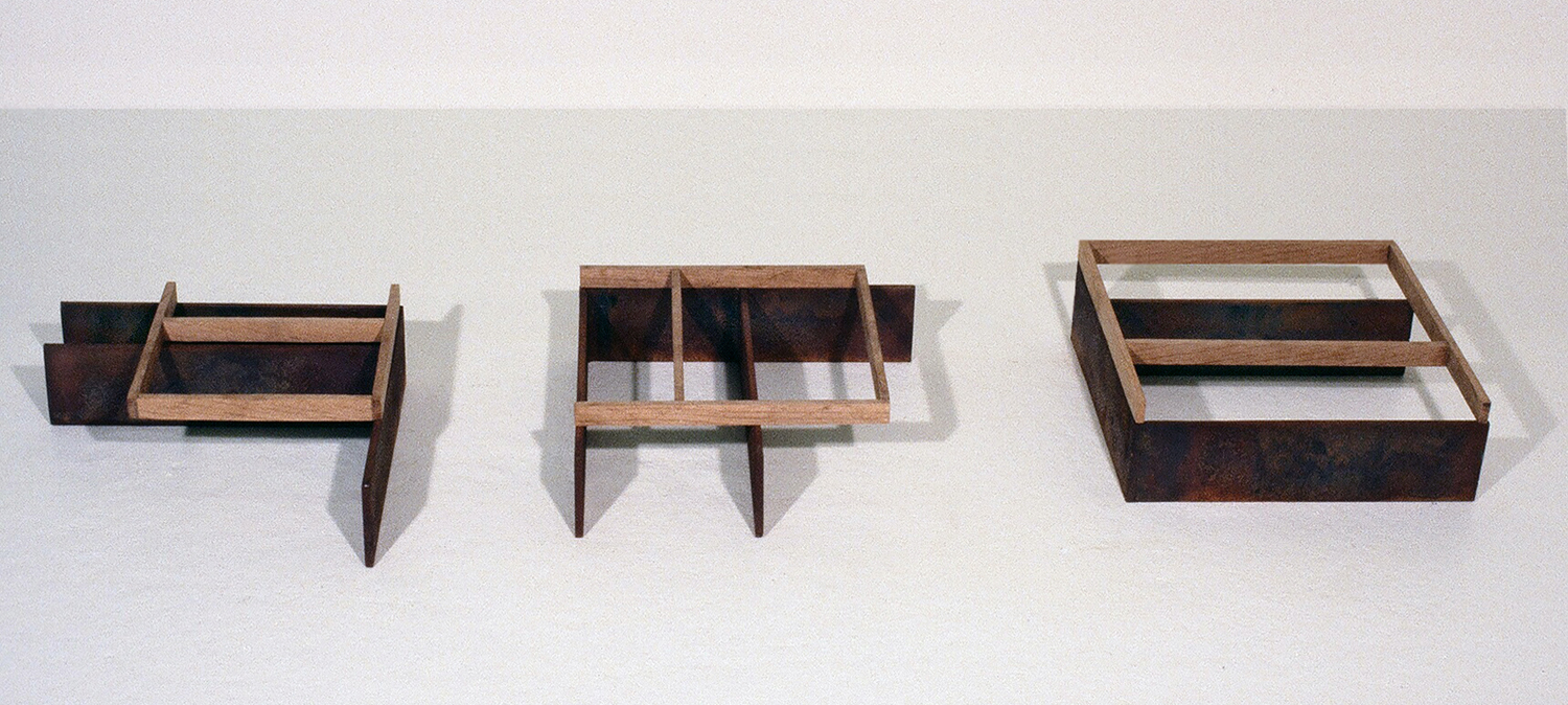 1978, Corten steel, oak, 3 x 46 x 15 inches.