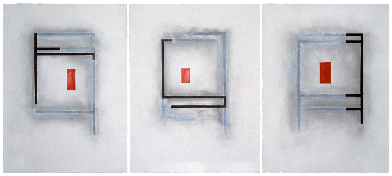 Drawing: 1979, Acrylic, charcoal, chalk, Rives paper, 34 x79 inches.