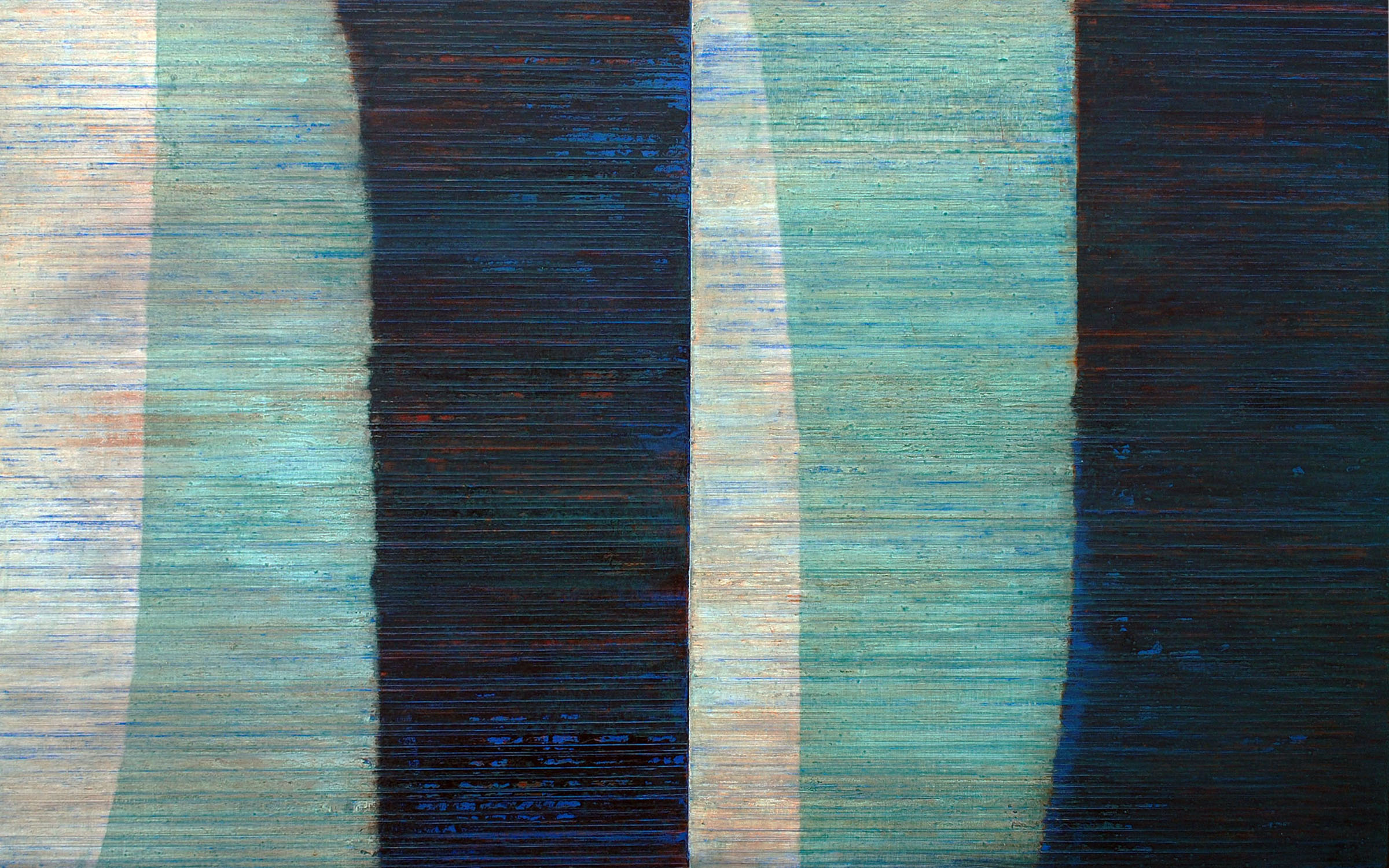 Linea Terminale: 11.12, 2012, Oil on linen over panels, 20 x 36 inches.