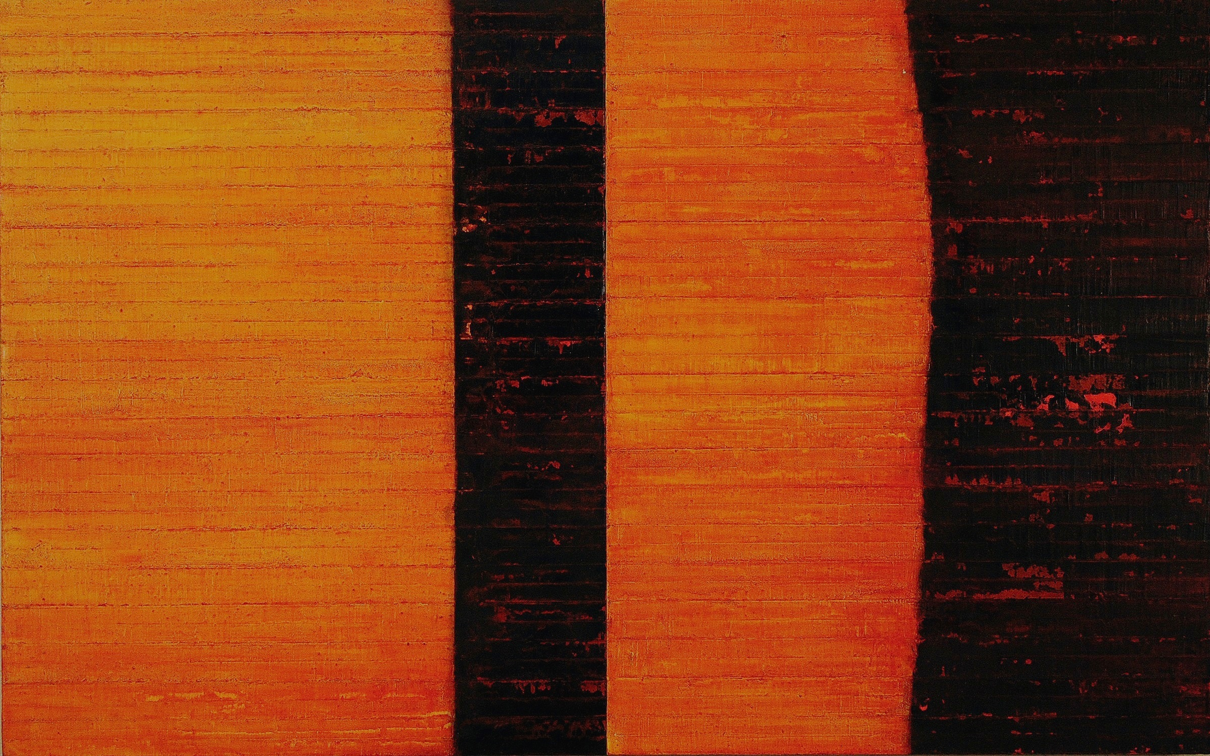 Linea Terminale: 12.10, 2010, Oil on linen over panels, 20 x 36 inches.