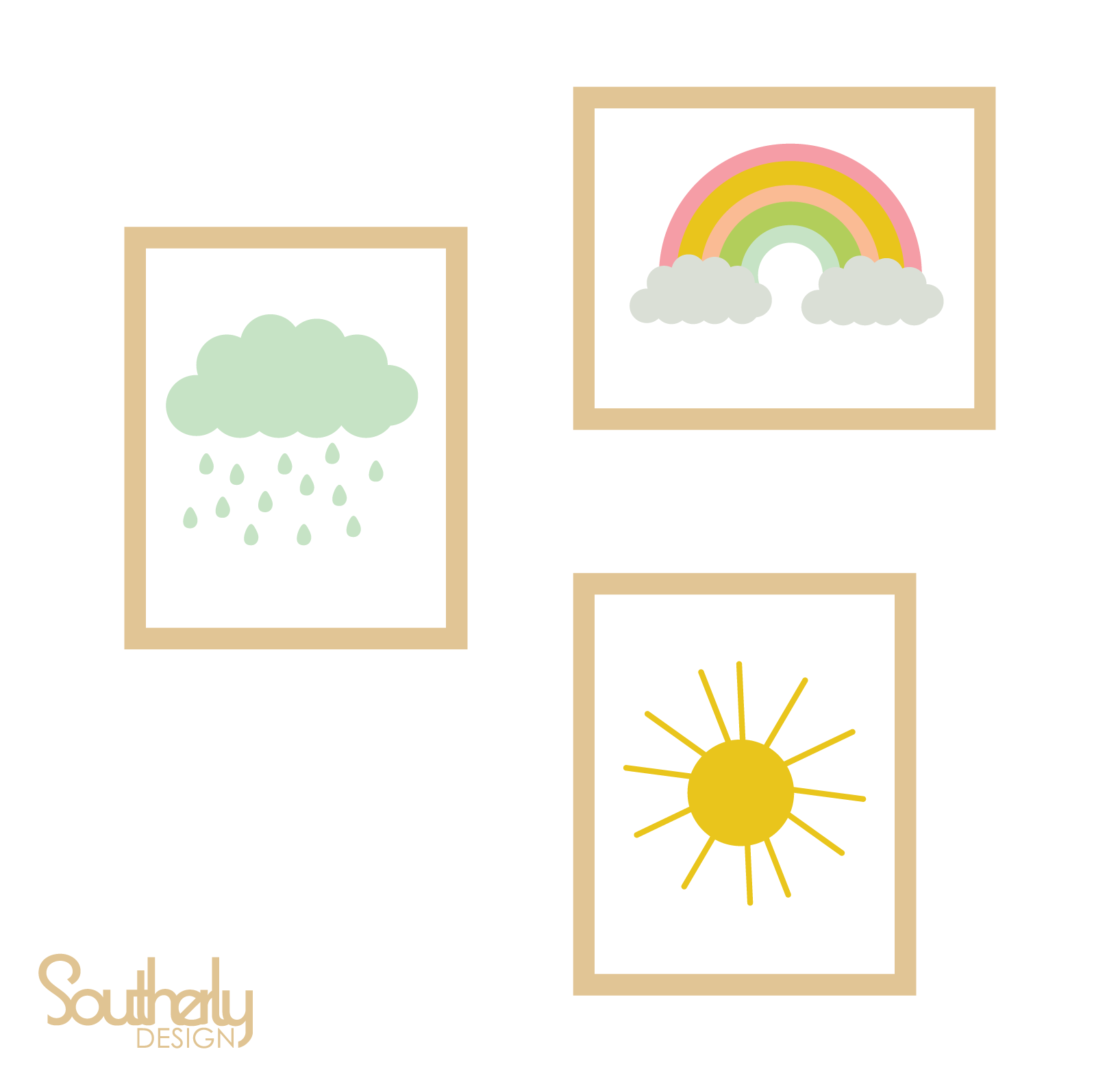 Sun, Cloud and Rainbow Art Prints