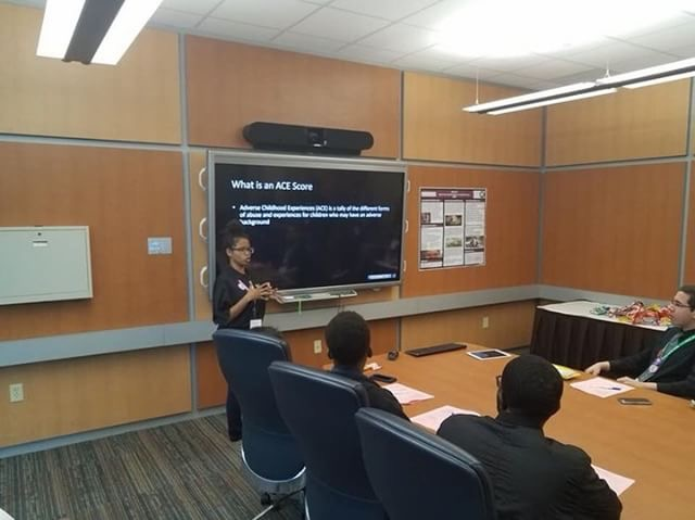 Jada pictured giving a presentation on  America's Children and the Environment  and it's impact on neurodevelopment in urban schools