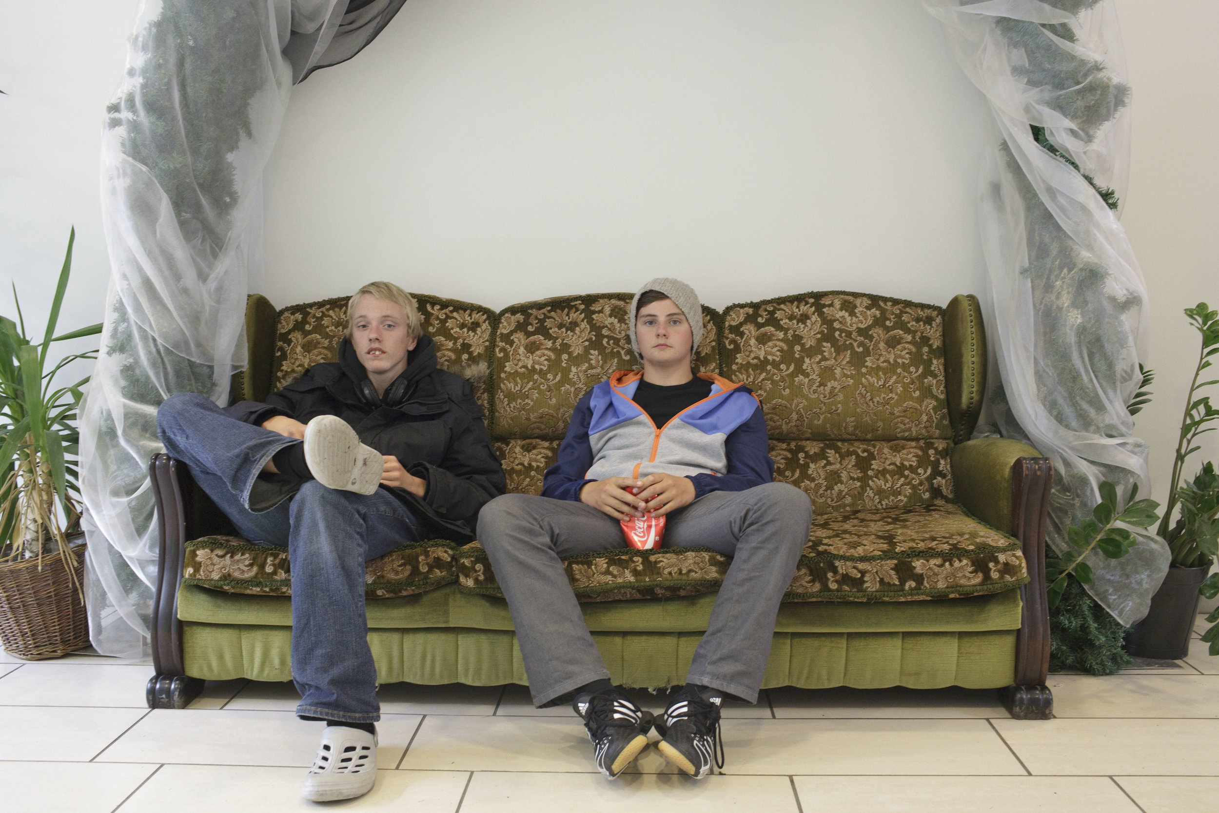 Two teenage boys spend the afternoon at the mall in Hveragerdi.