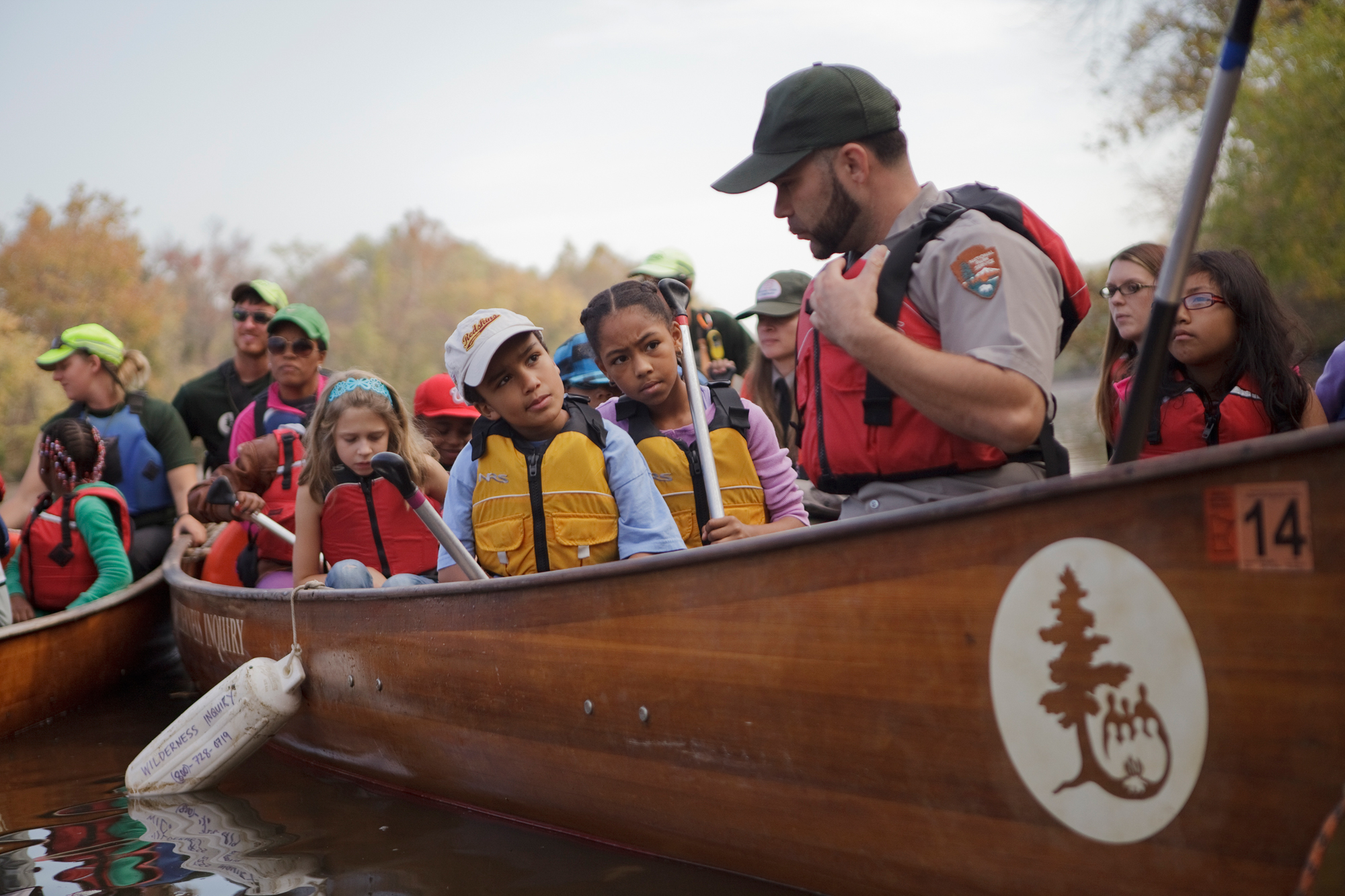 D.C. school children canoe the Anacostia through a non-profit called Wilderness Inquiry, which helps create opportunities for urban kids to spend time in nature in October, 2012.