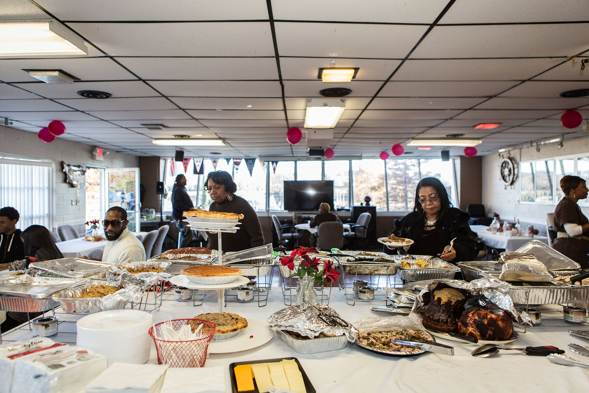 The clubhouse at Seafarers has been host to everything from Thanksgiving dinner (pictured here), to Friday night dances, to funeral repasts.